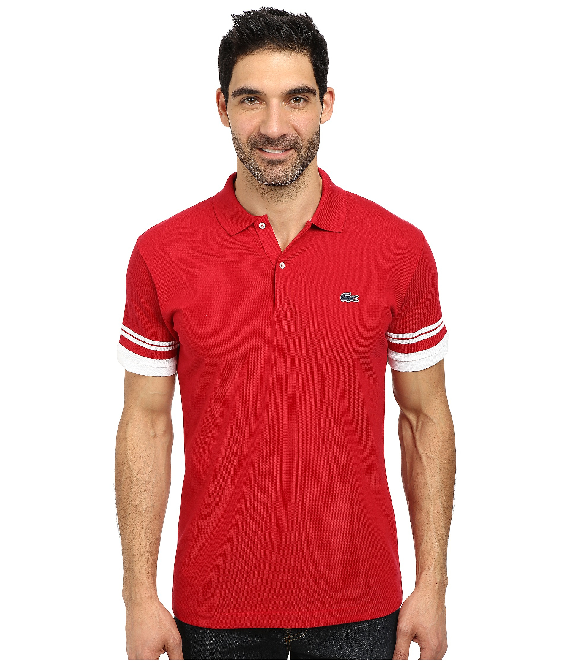 lyst lacoste cotton pique semi fancy slim fit made in france polo in red for men. Black Bedroom Furniture Sets. Home Design Ideas