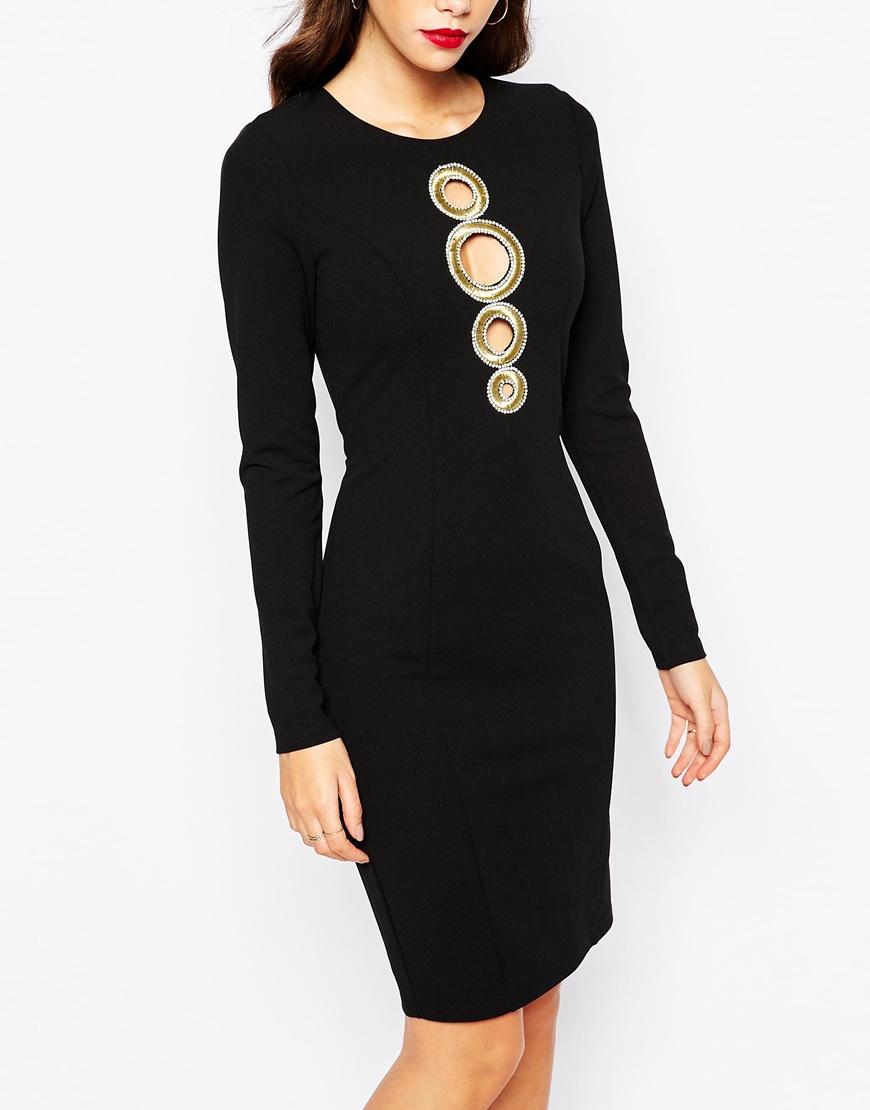 Black dress gold detail