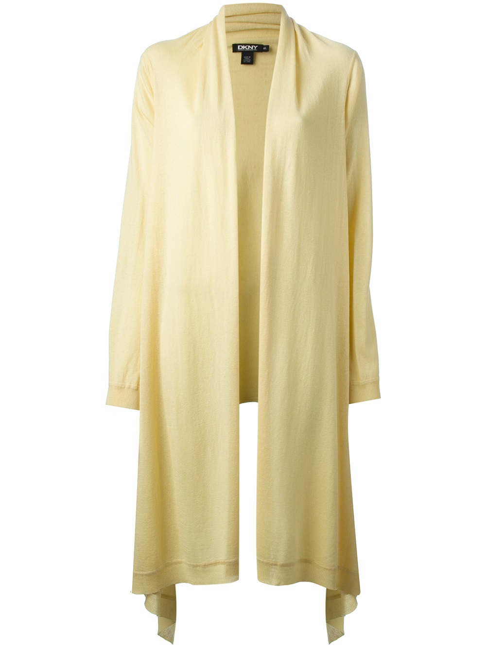 Dkny Draped Open Front Cardigan in Yellow | Lyst
