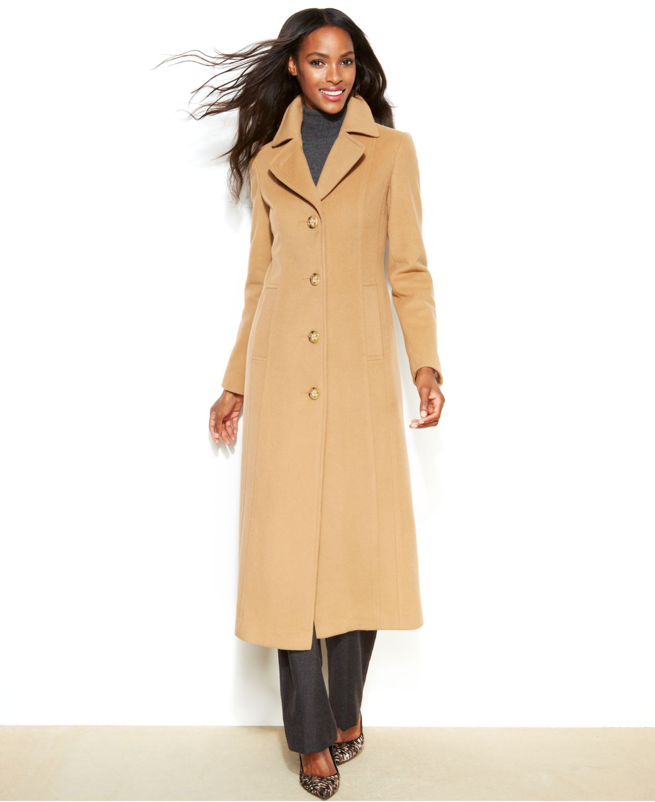 Anne klein Petite Wool-Cashmere-Blend Maxi Walker Coat in Brown | Lyst