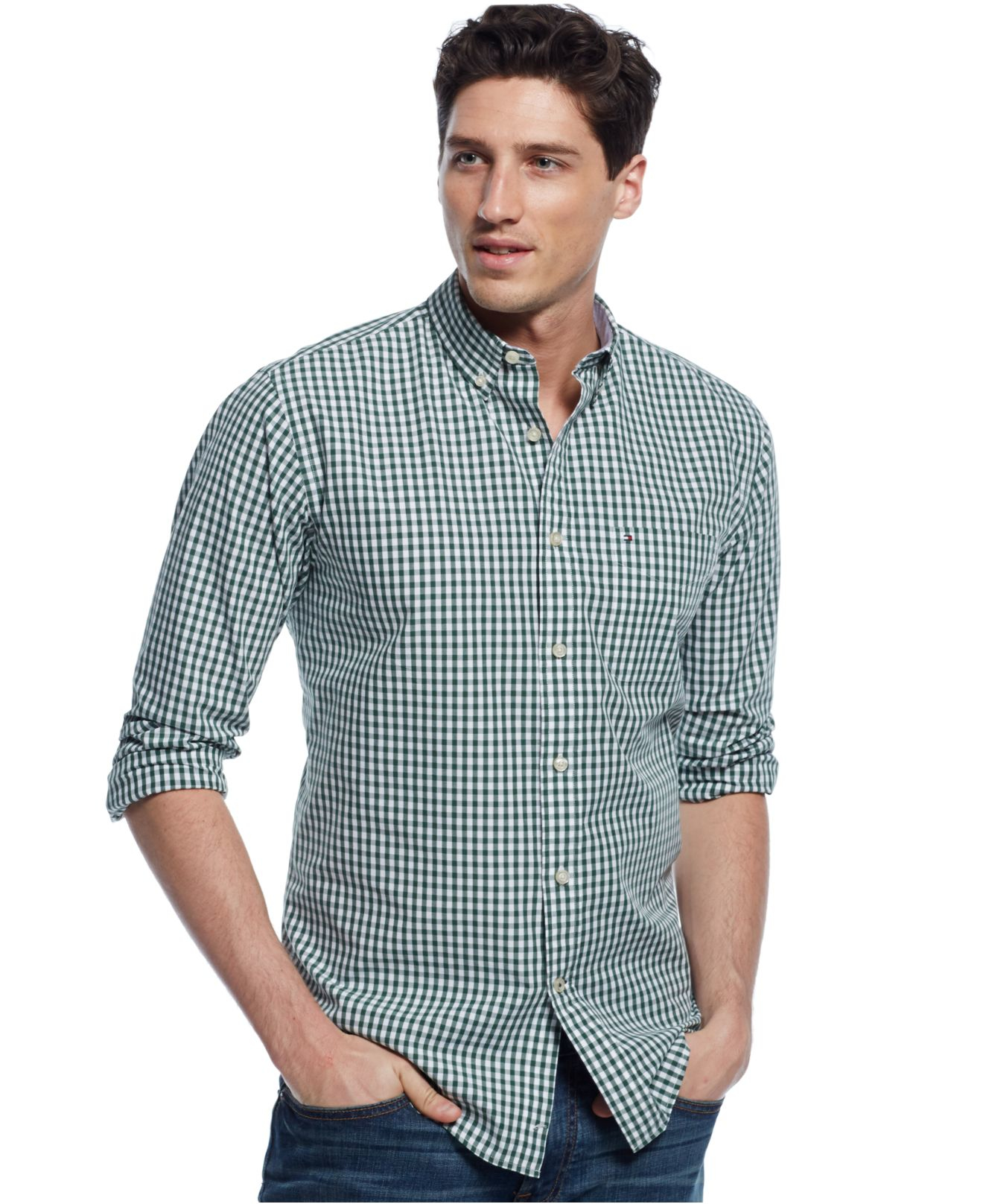 8c806250 Tommy Hilfiger Long-sleeve Twain Check Shirt in Green for Men - Lyst