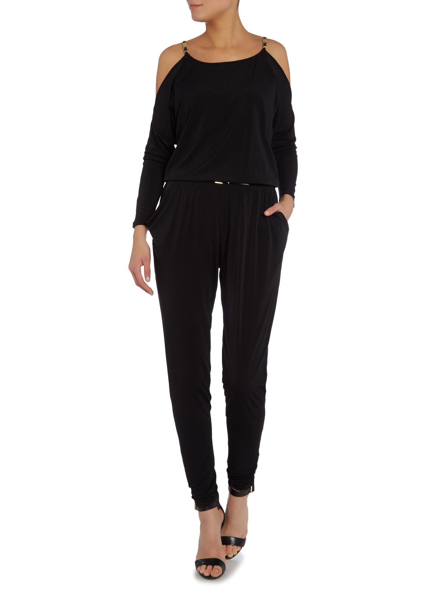 michael kors long sleeve cold shoulder jumpsuit in black lyst. Black Bedroom Furniture Sets. Home Design Ideas