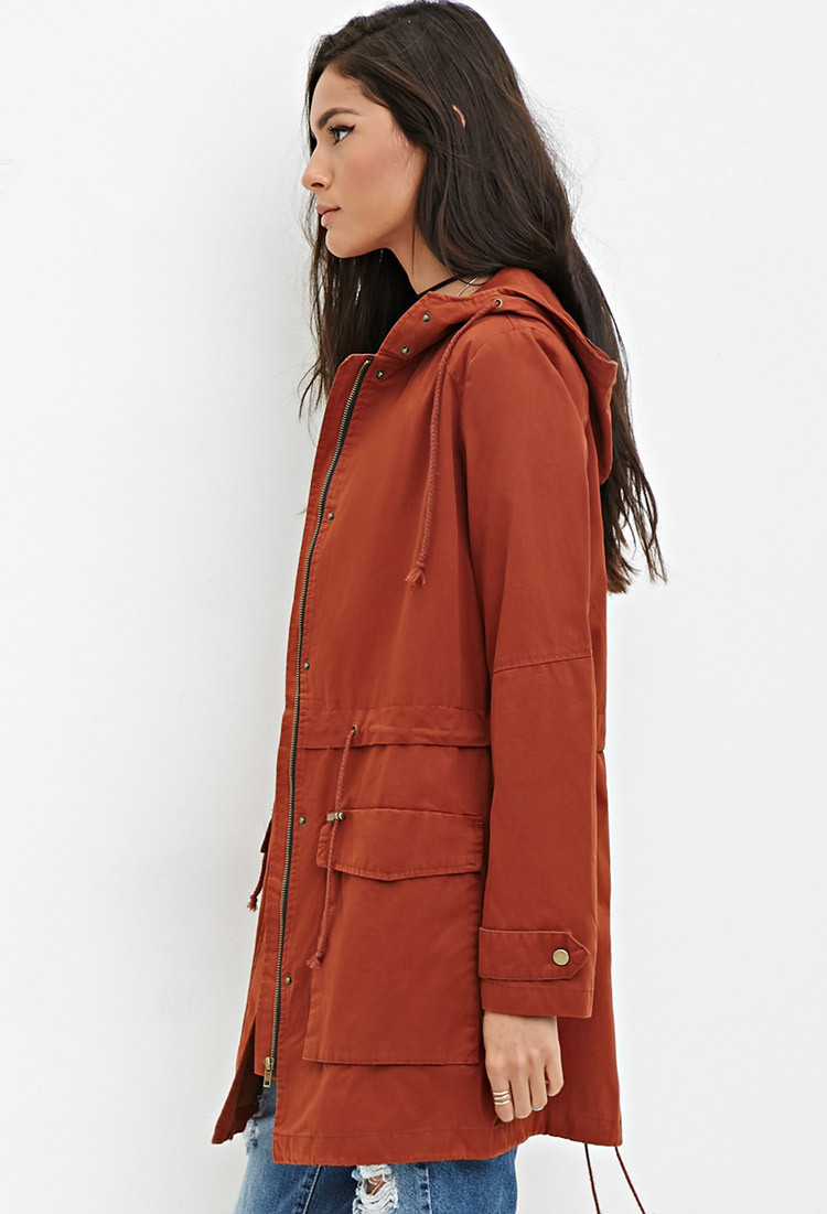 Utility Jacket Jackets And Nike: Forever 21 Longline Hooded Utility Jacket In Brown (Rust