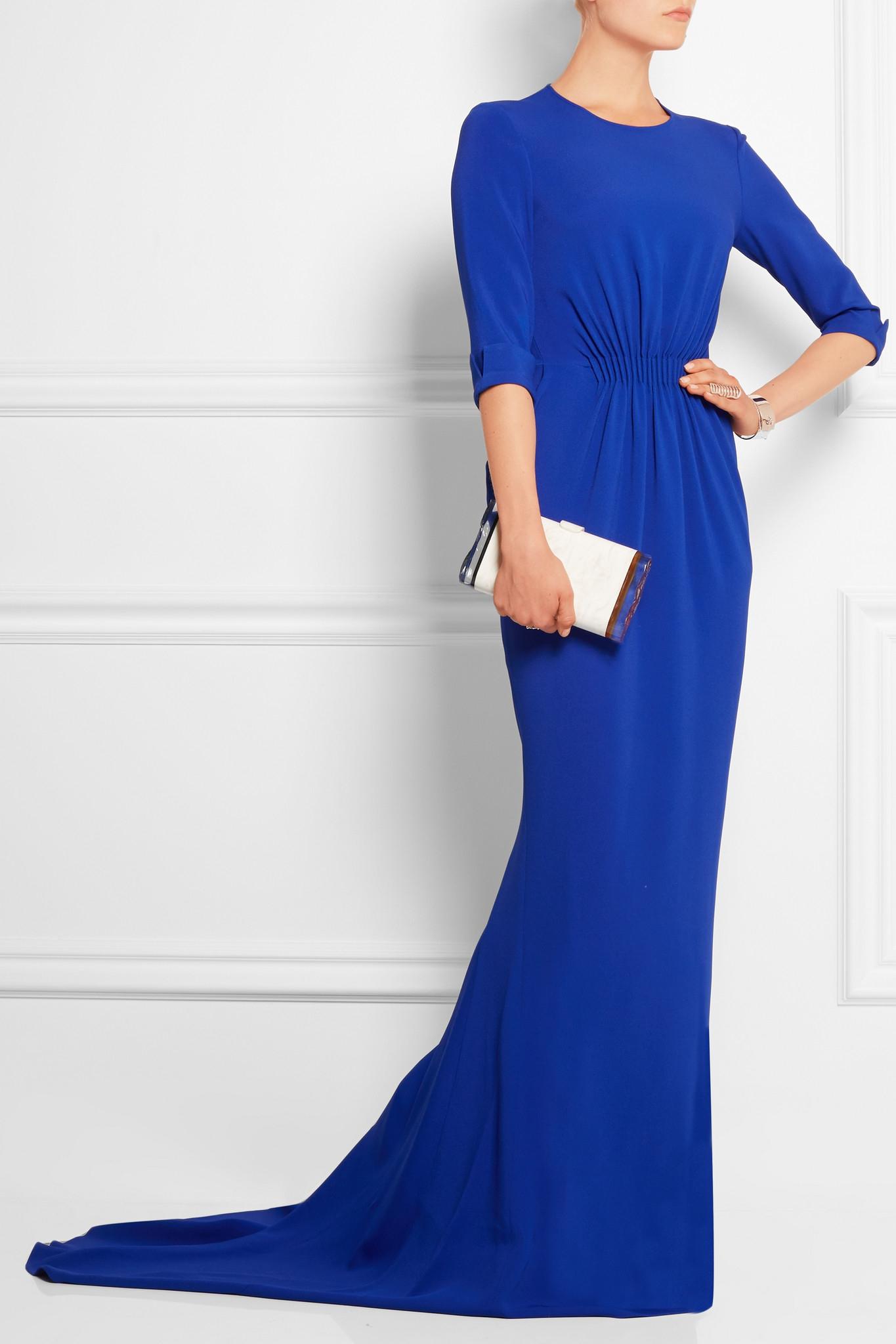 a3016b9717cd Stella McCartney Crepe Gown in Blue - Lyst