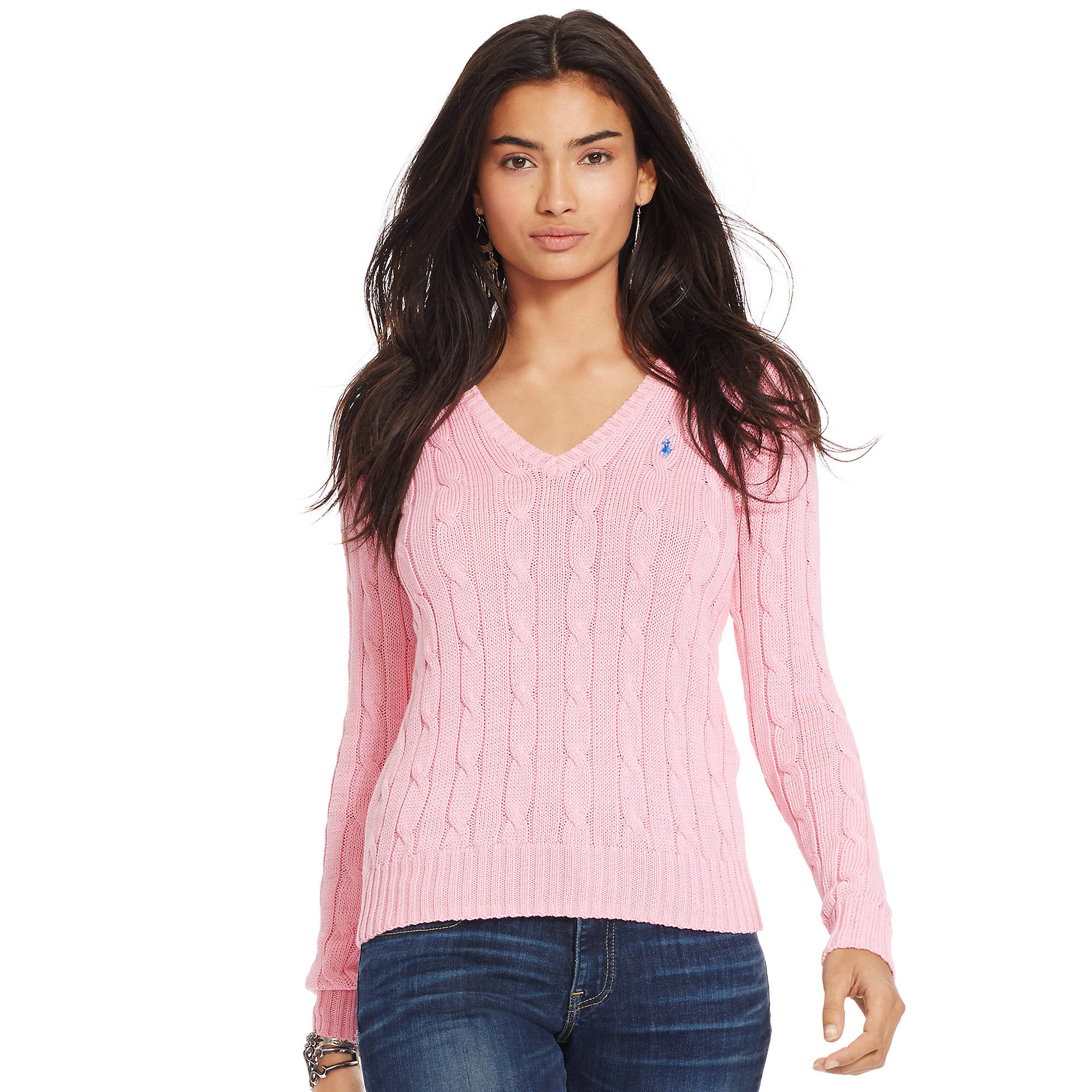Polo ralph lauren Cable-knit V-neck Sweater in Pink | Lyst