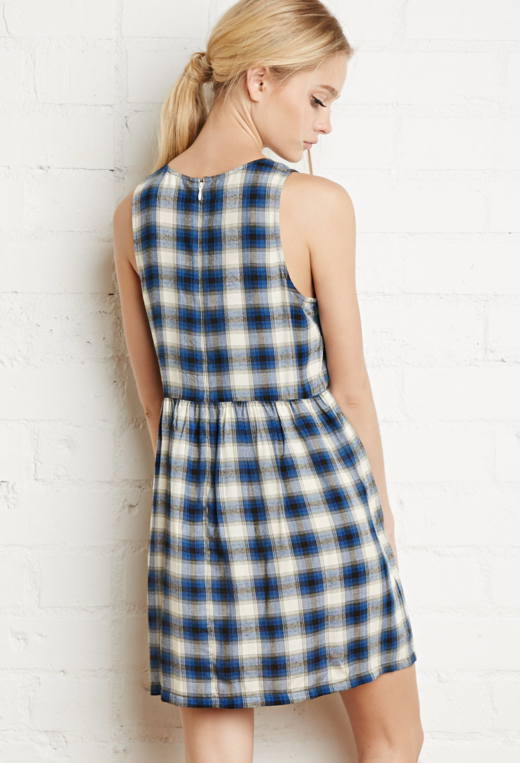 Forever 21 Tartan Plaid Smock Dress in Natural | Lyst