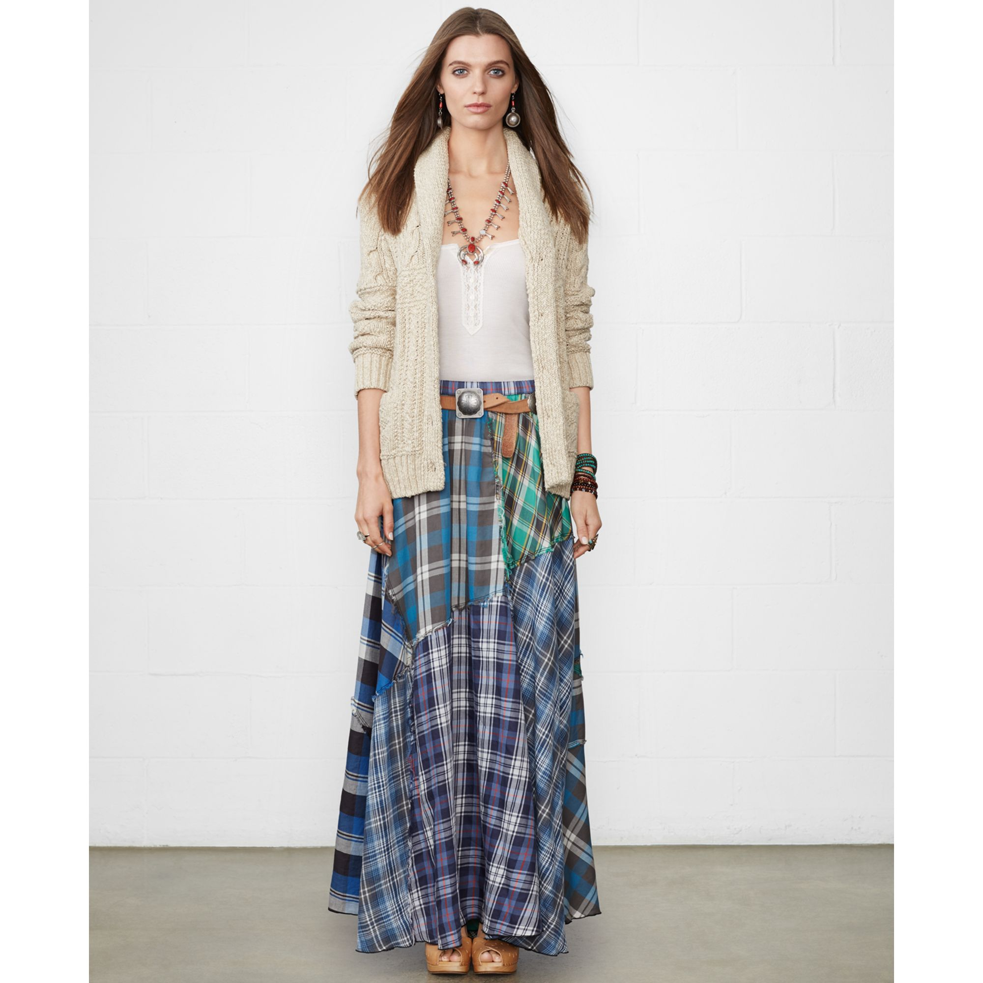 Denim & supply ralph lauren Patchwork Plaid Maxi Skirt | Lyst