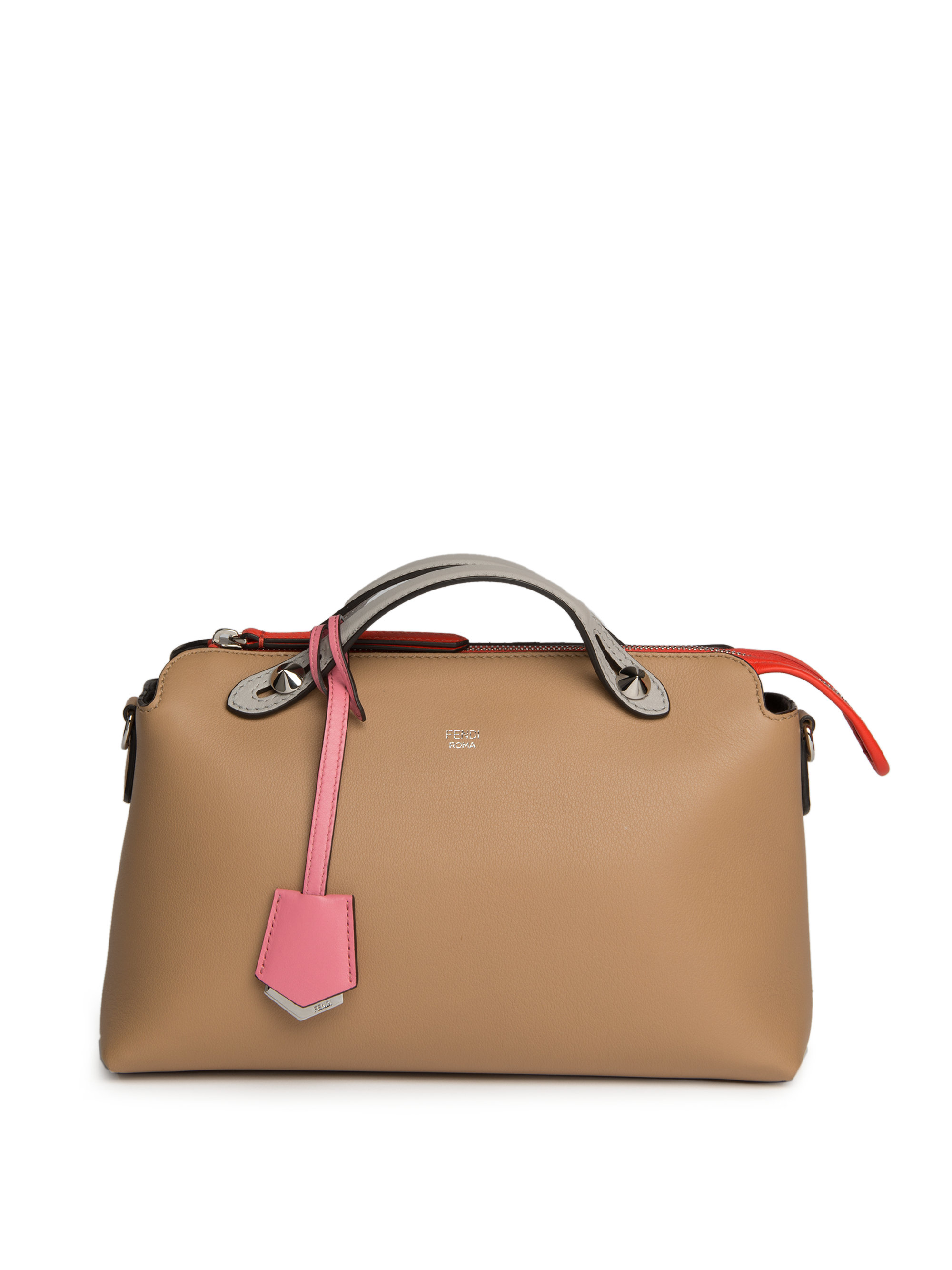 828c98ae3875 Lyst - Fendi By The Way Small Colorblock Leather Satchel in Natural