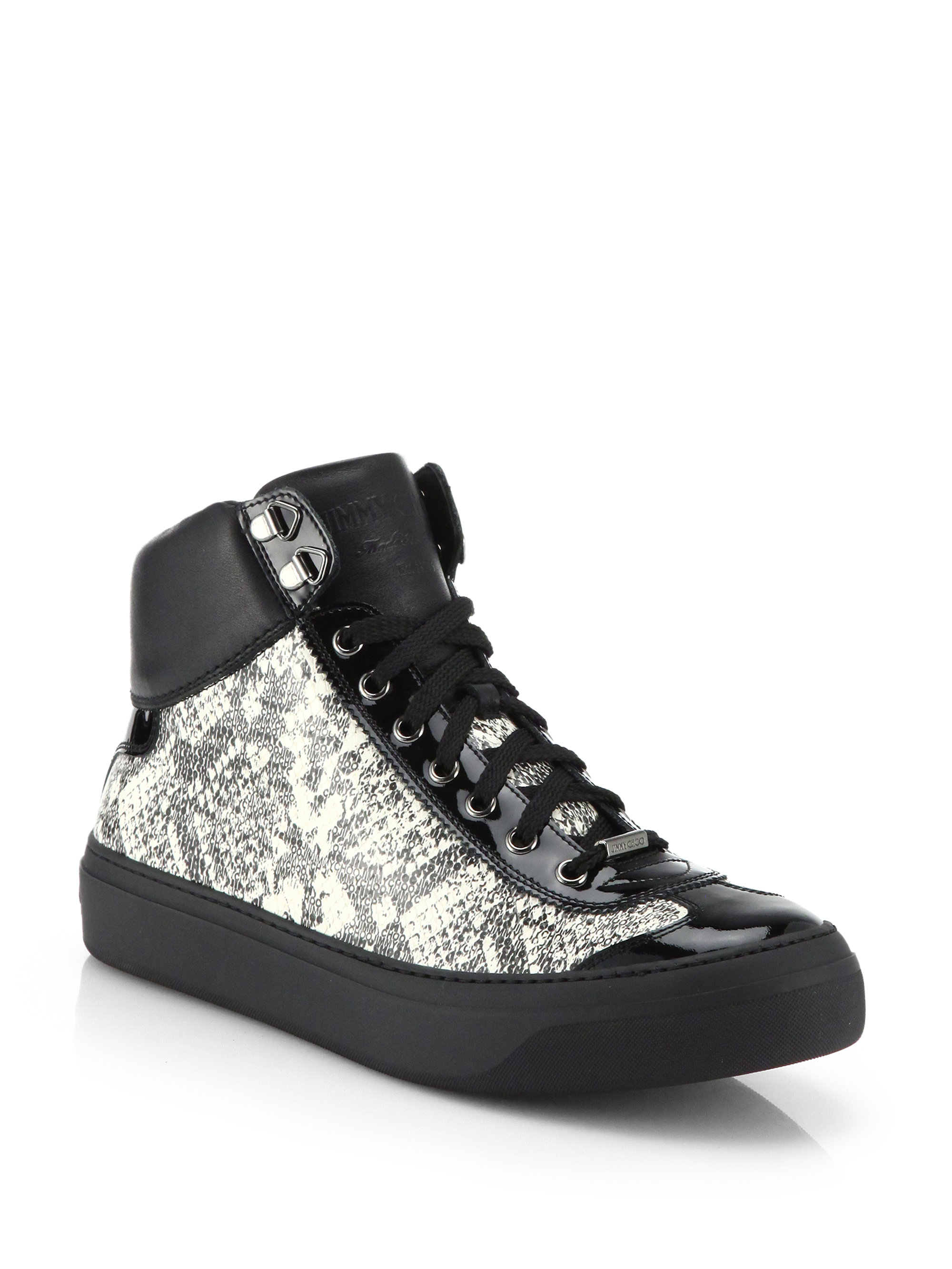 fc58873a77ae Lyst - Jimmy Choo Argyle Snake-print High-top Sneakers for Men