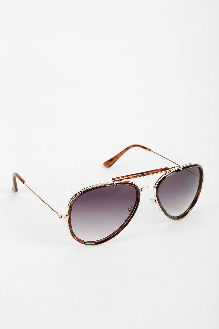 1e23f2d6c1 Lyst - Urban Outfitters Top Trooper Aviator Sunglasses in Brown