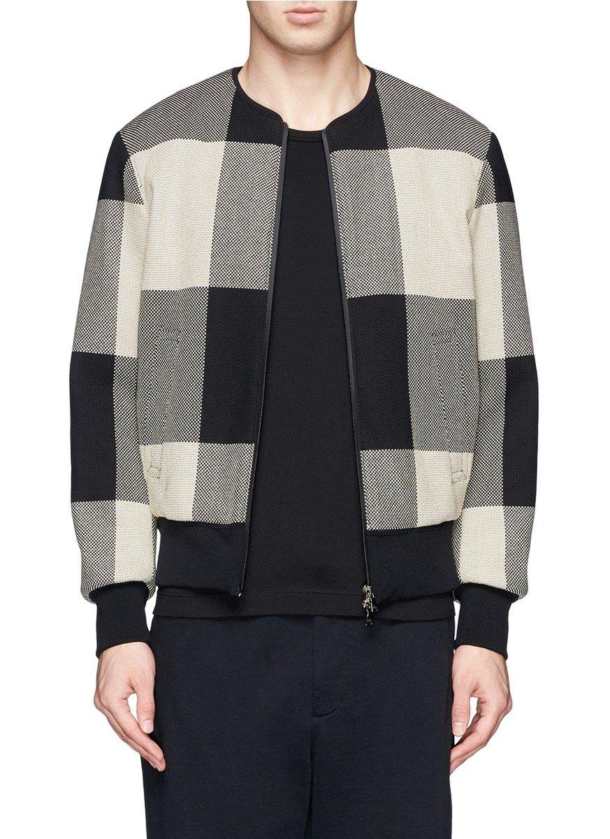 Neil barrett Large Check Pattern Bomber Jacket in Gray for Men | Lyst