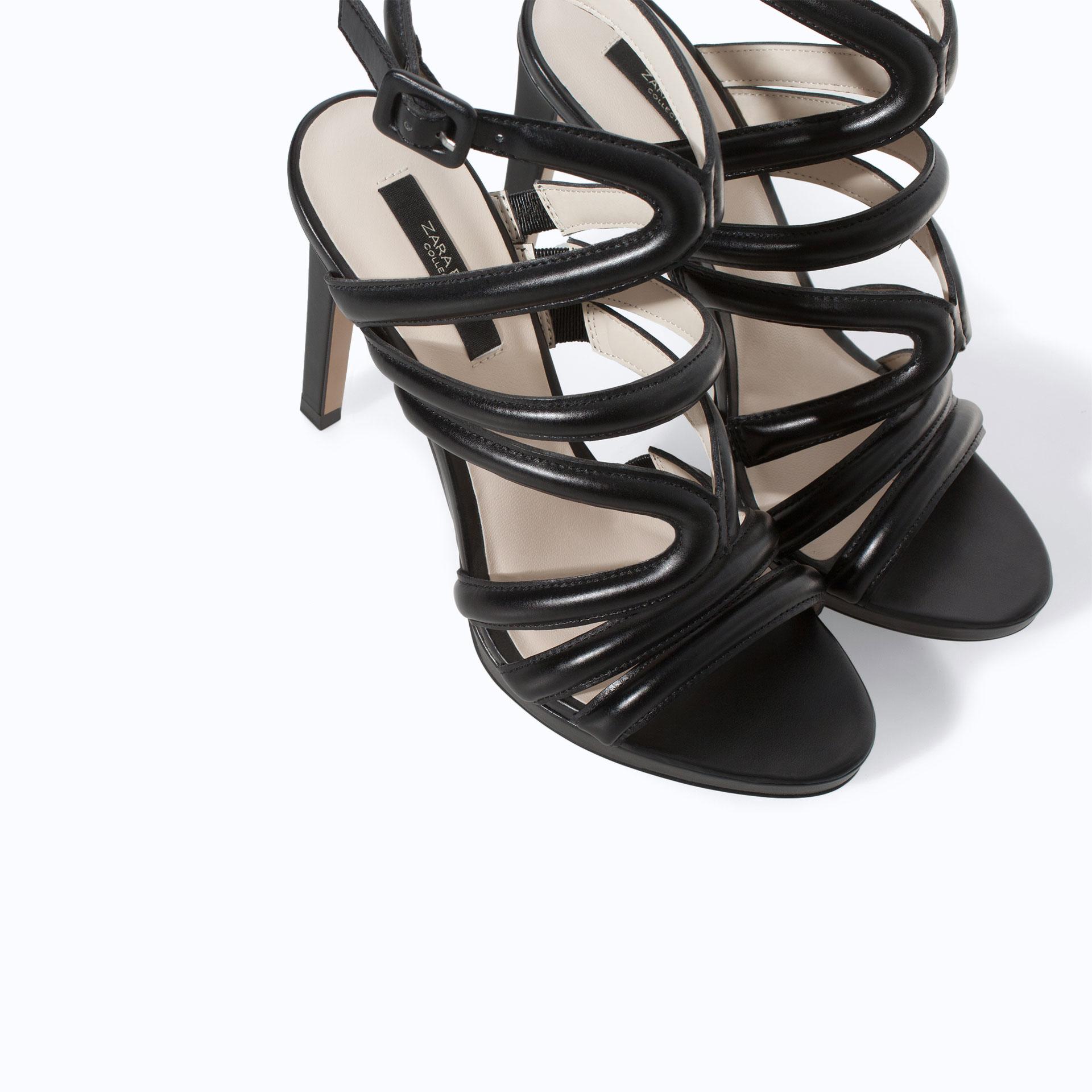 Zara Heeled Strappy Sandals in Black | Lyst
