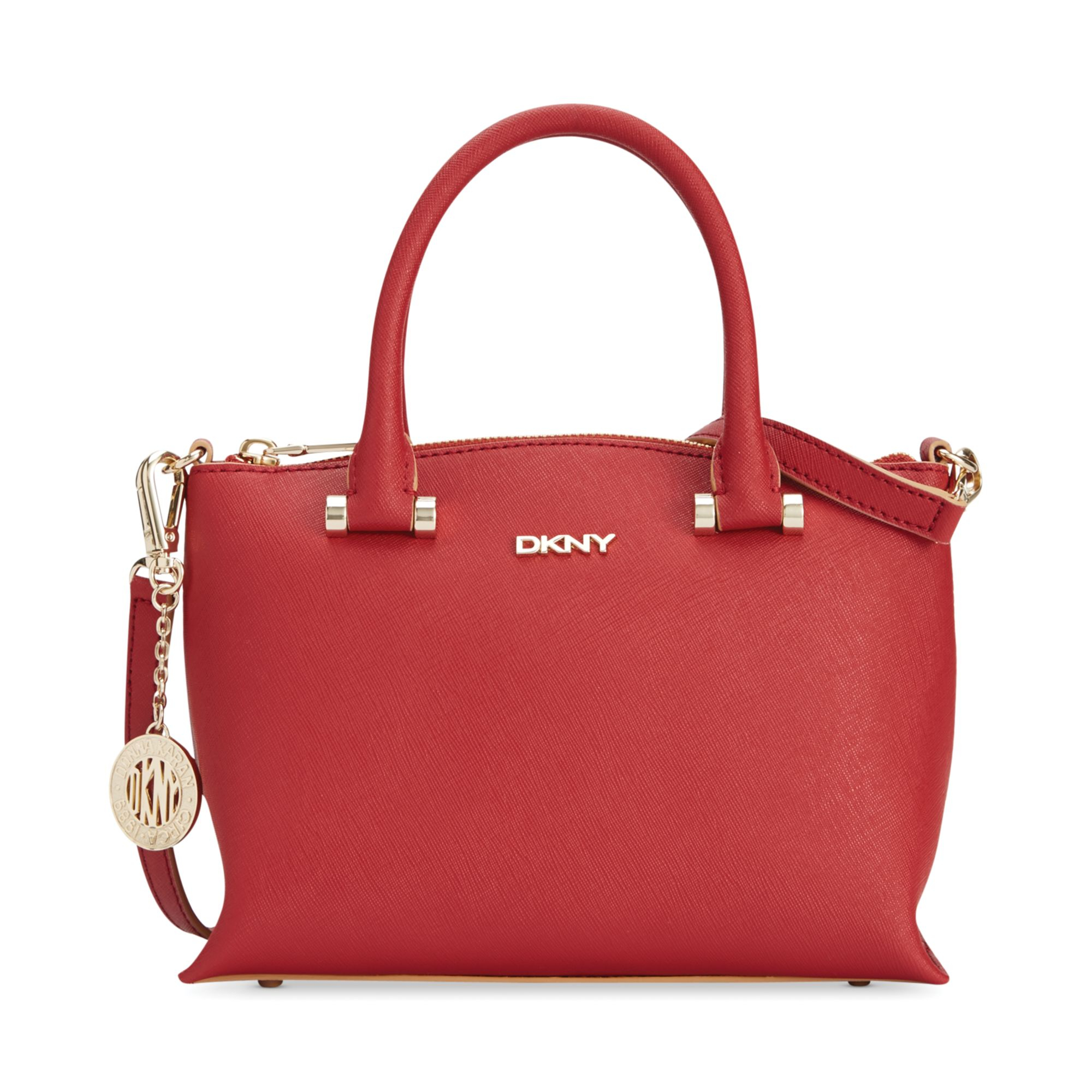 dkny bryant park saffiano top zip round crossbody in red brick lyst. Black Bedroom Furniture Sets. Home Design Ideas