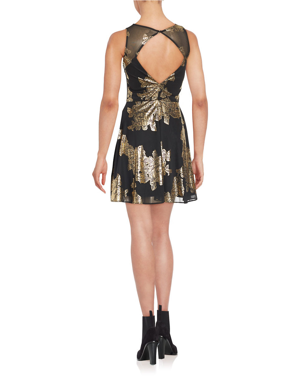 Lyst - Lord & Taylor Open-back Fit And Flare Dress in Metallic