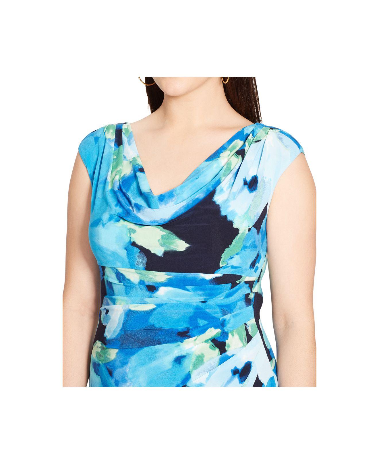 Lyst Lauren By Ralph Lauren Plus Size Floral Print Cowl Neck Dress