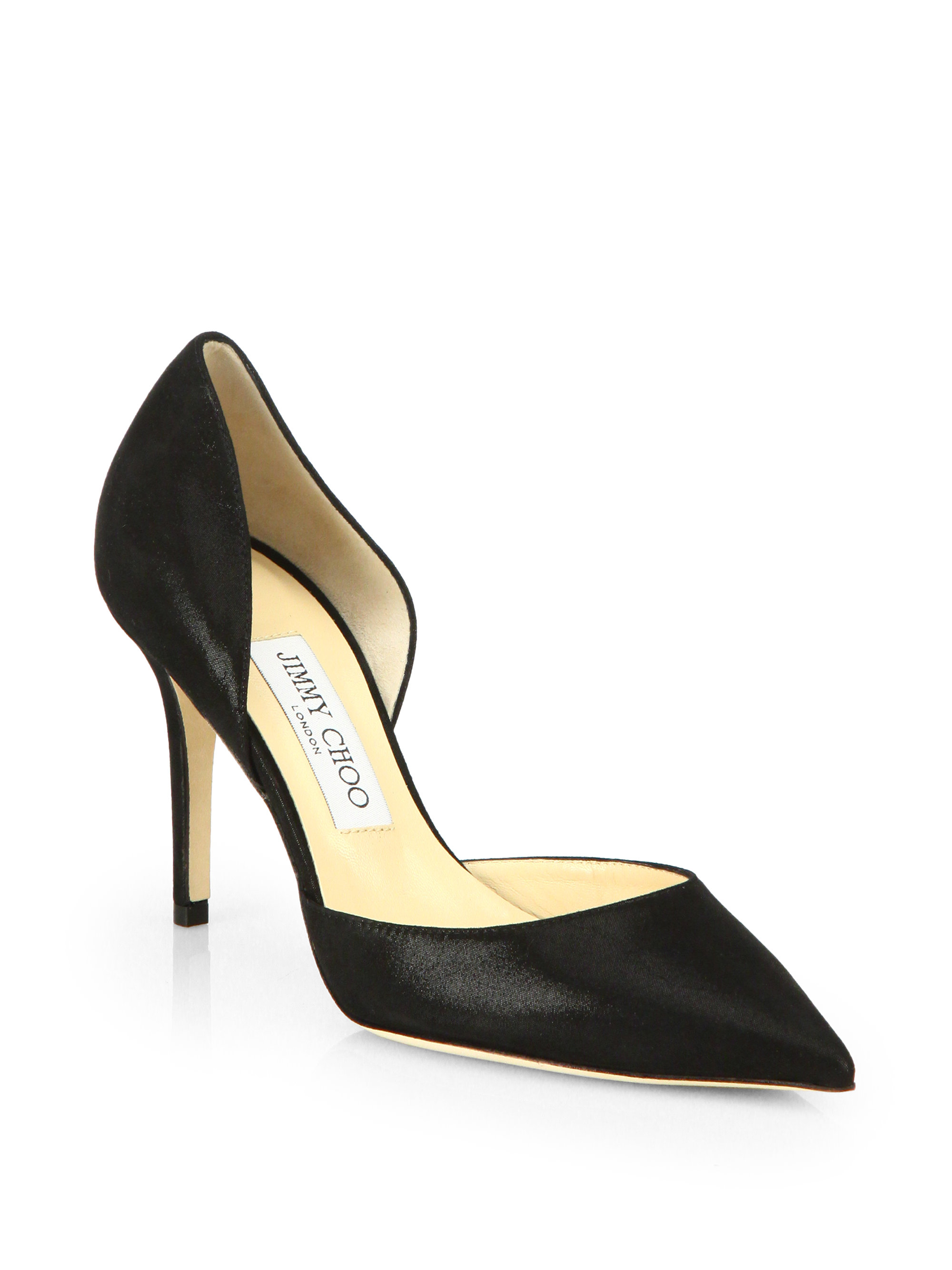 lyst jimmy choo addison shimmer leather d orsay pumps in black rh lyst com