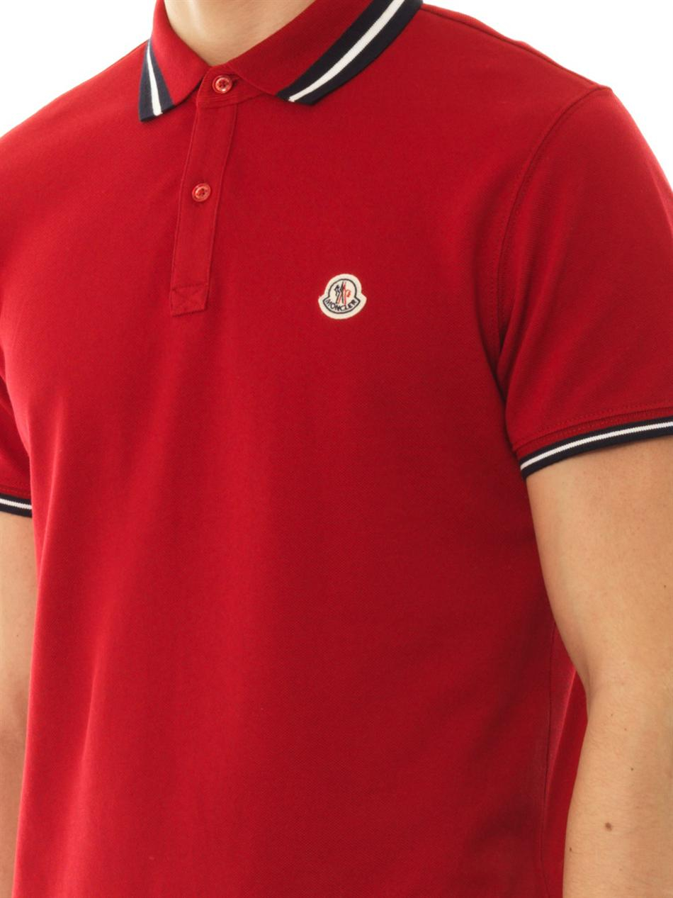 0e6678022 In For Lyst Cottonpiqué Polo Shirt Men Moncler Red q4IUgAw
