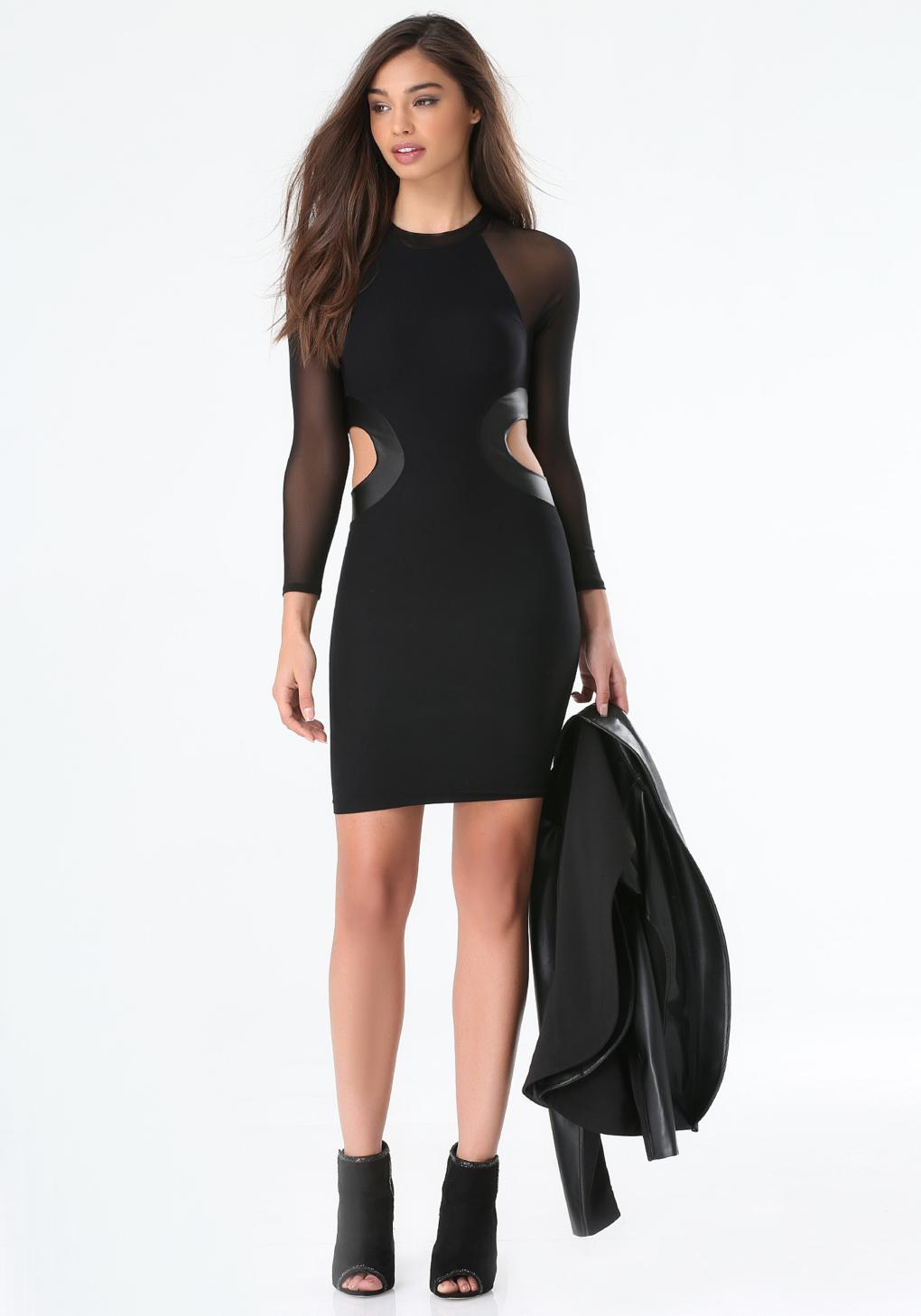 Lyst Bebe Side Cutout Bodycon Dress In Black