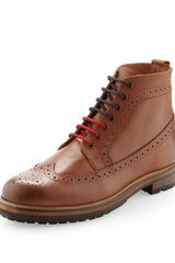 Ben Sherman Leather Wingtip Boots Tan - Lyst