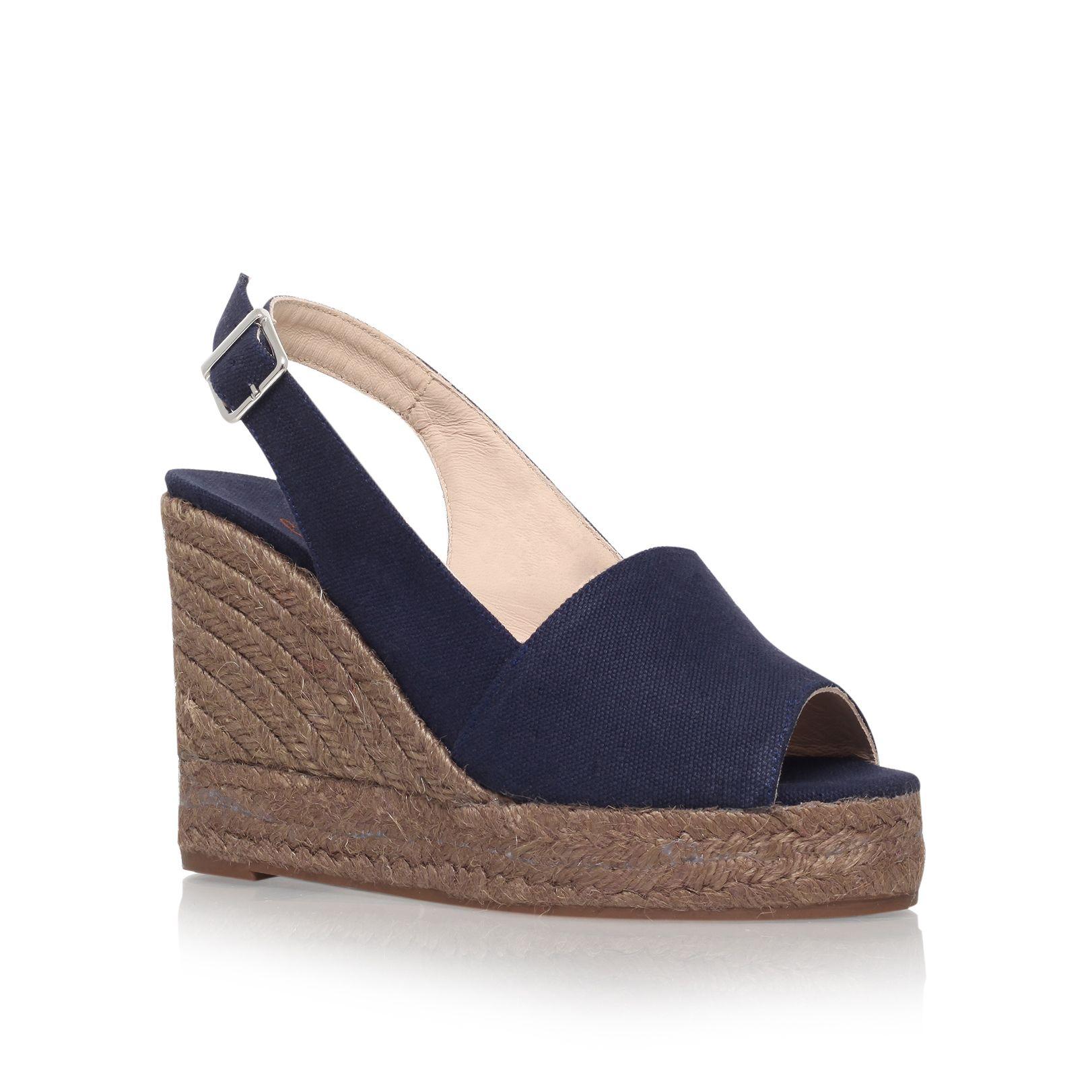 castaner 8 high wedge heel peep toe shoes in blue lyst