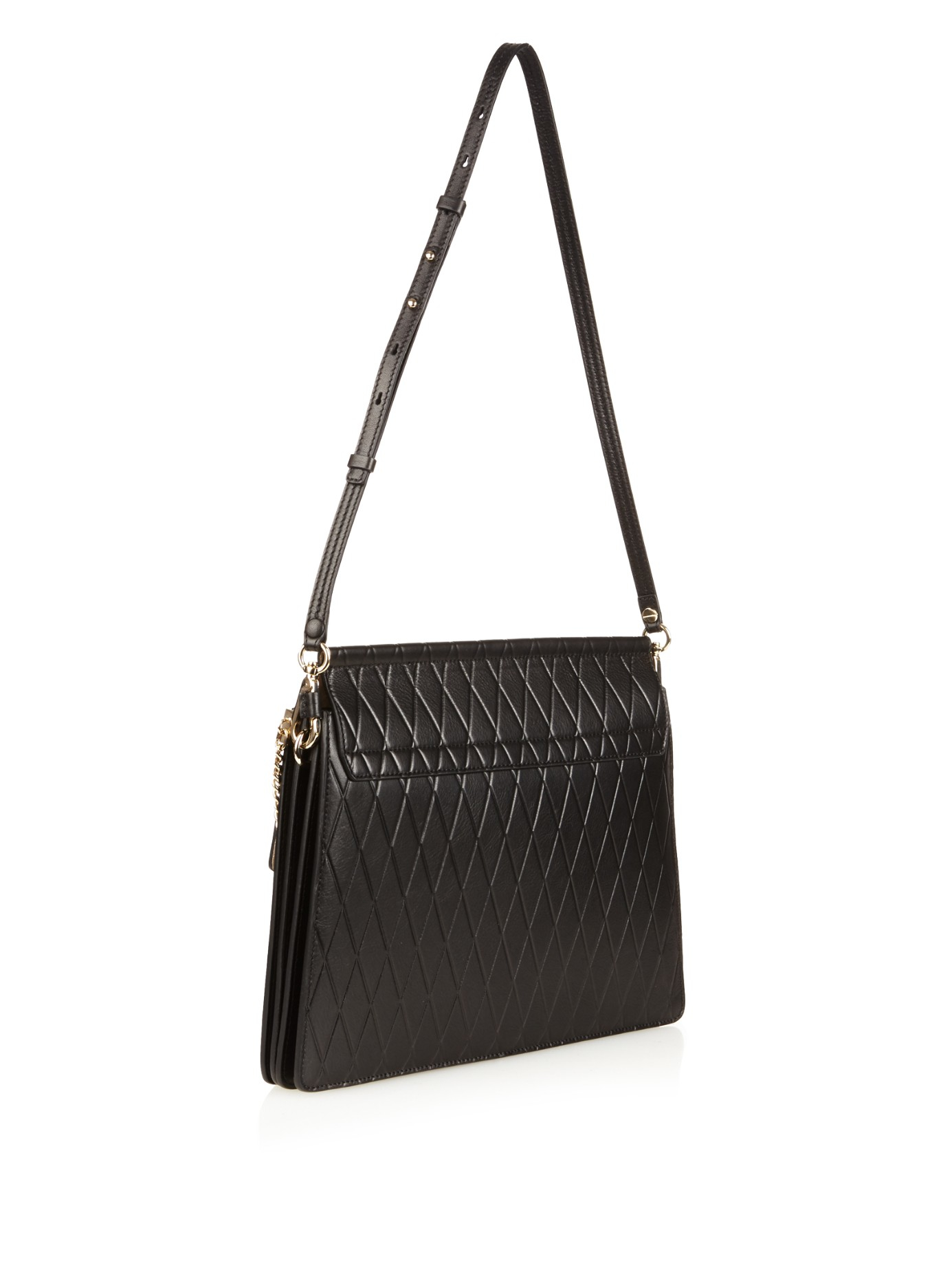 replica handbags chloe - faye small bag in diamond embossed smooth calfskin