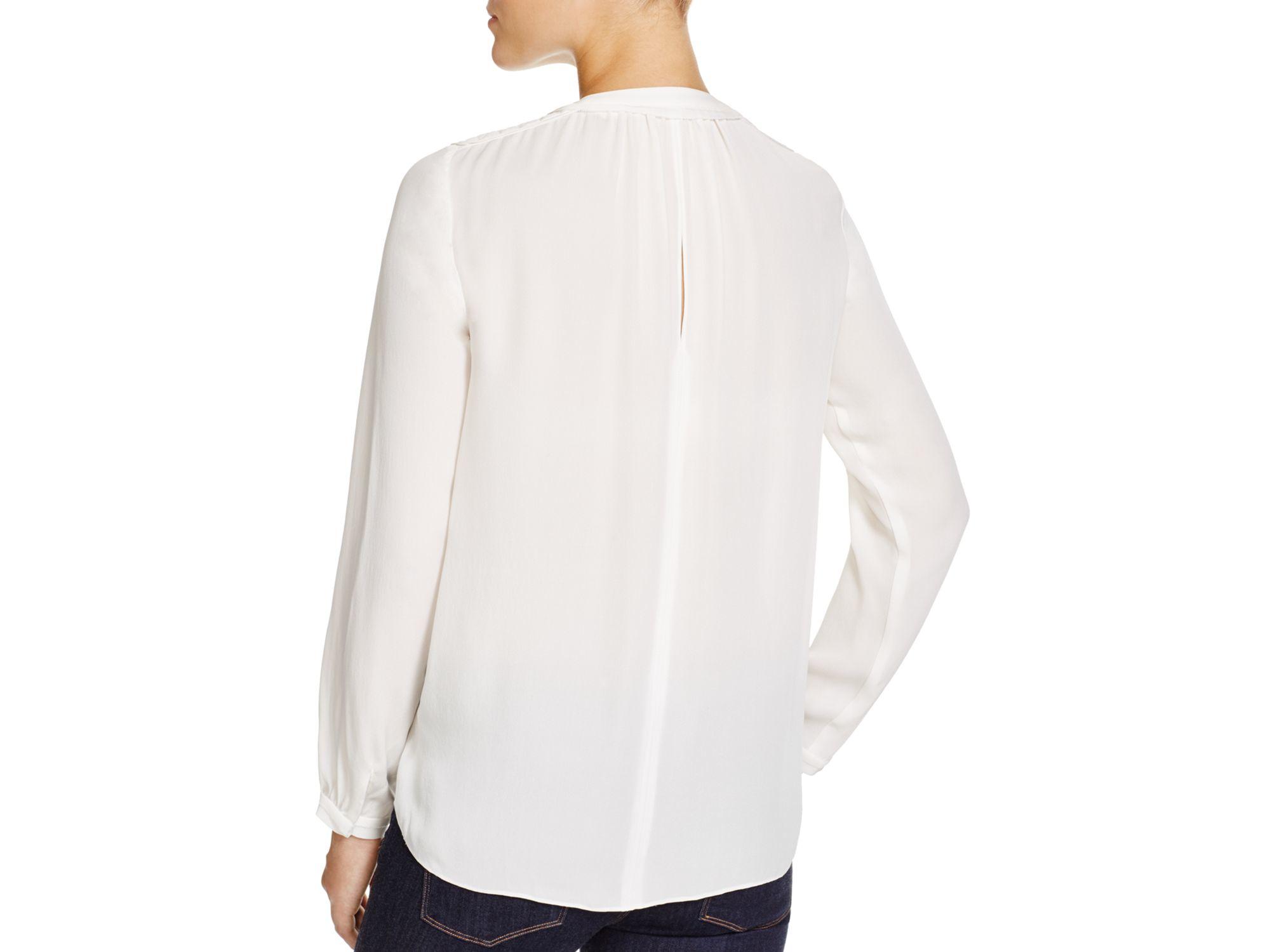 Rebecca taylor Faux-wrap Silk Blouse in White | Lyst