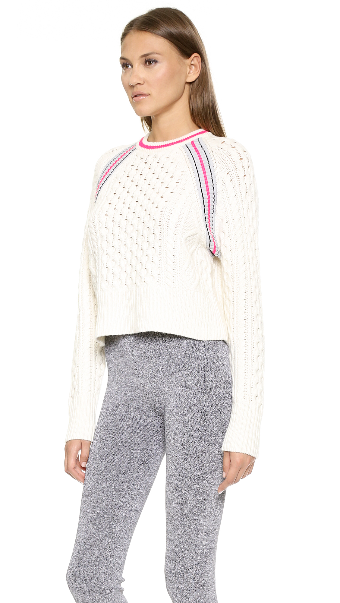T by alexander wang Aran Knit Crop Pullover - Black in White (Ivory) Lyst