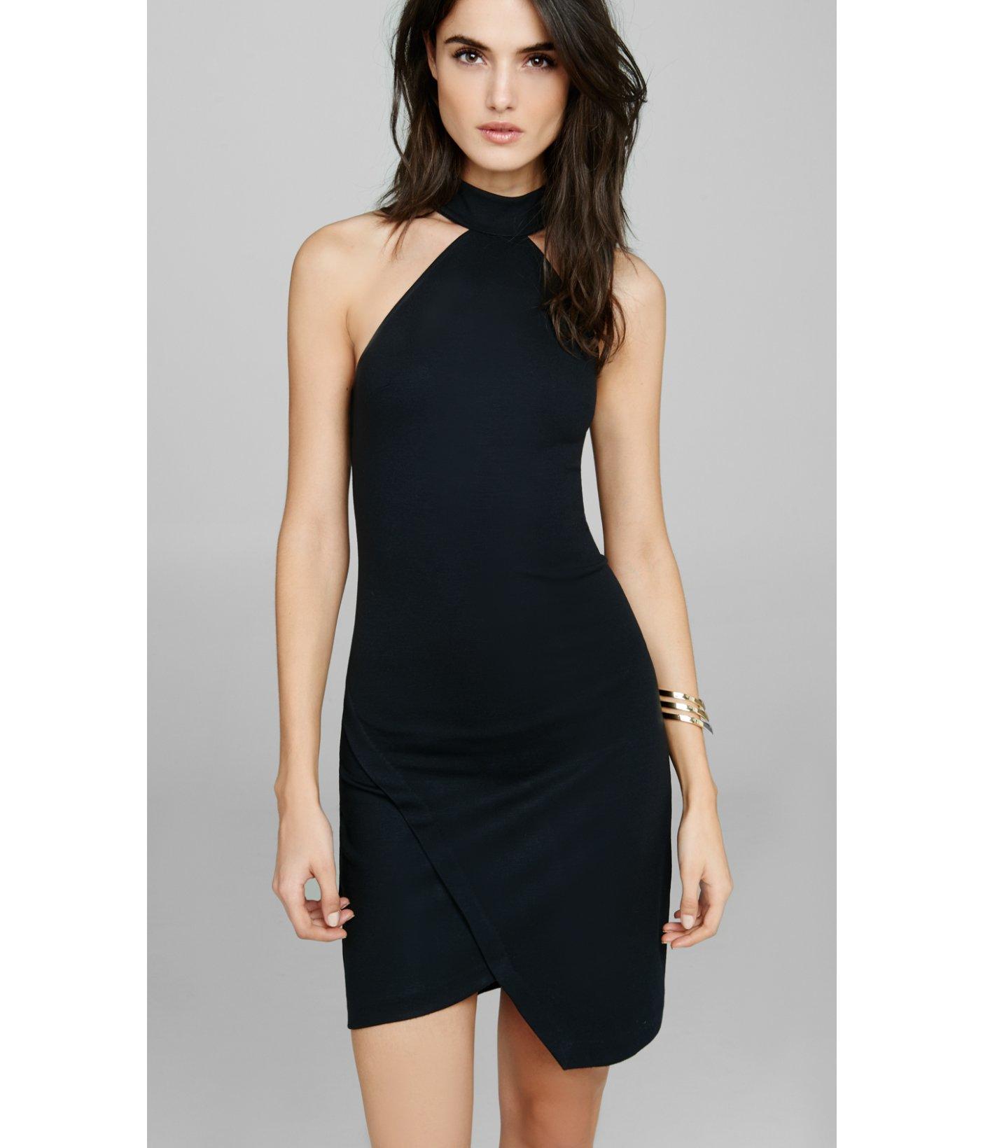 802dcc07 Express High Neck Halter Sheath Dress in Black - Lyst