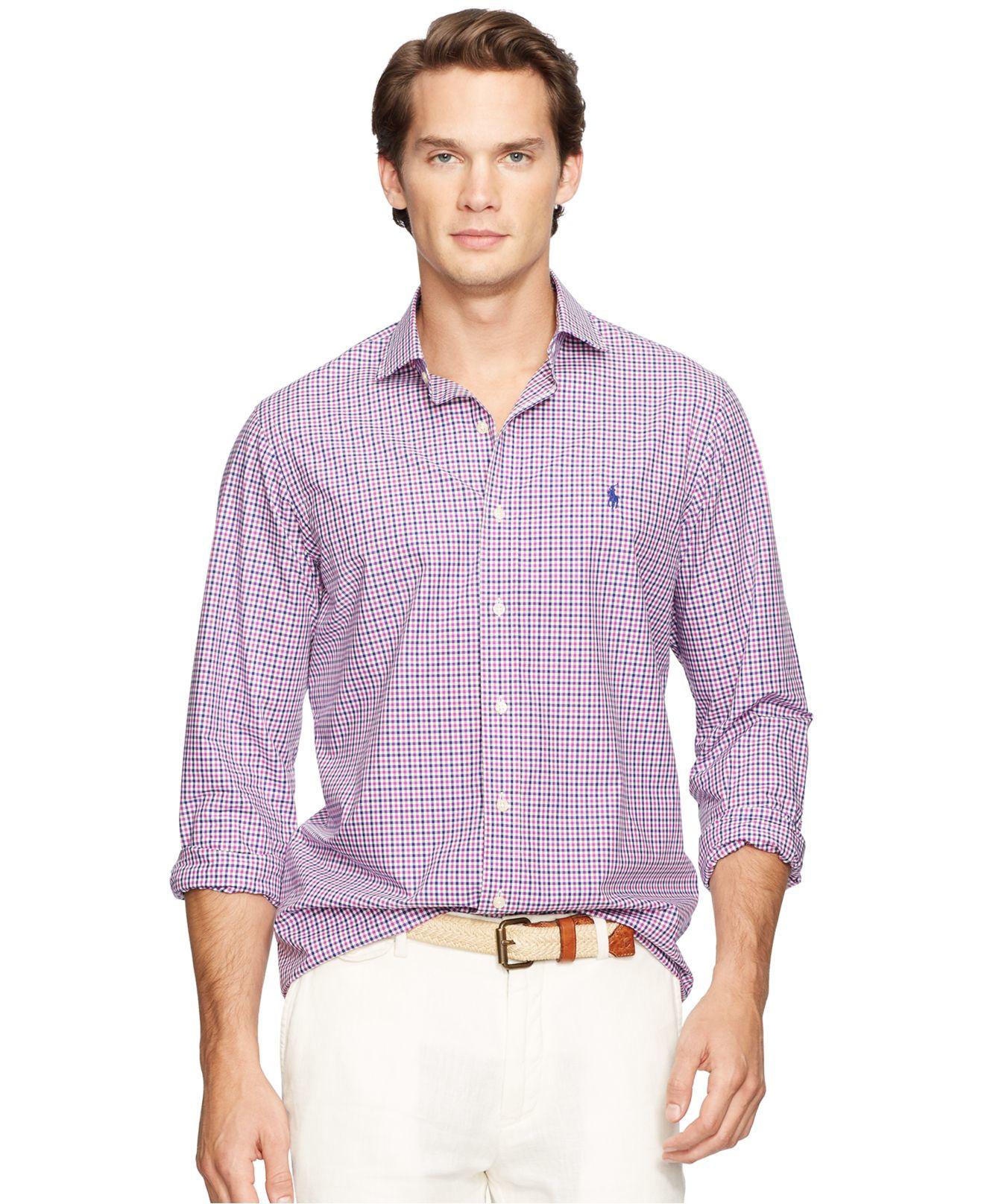Polo ralph lauren men 39 s poplin linen estate shirt in for Royal purple mens dress shirts