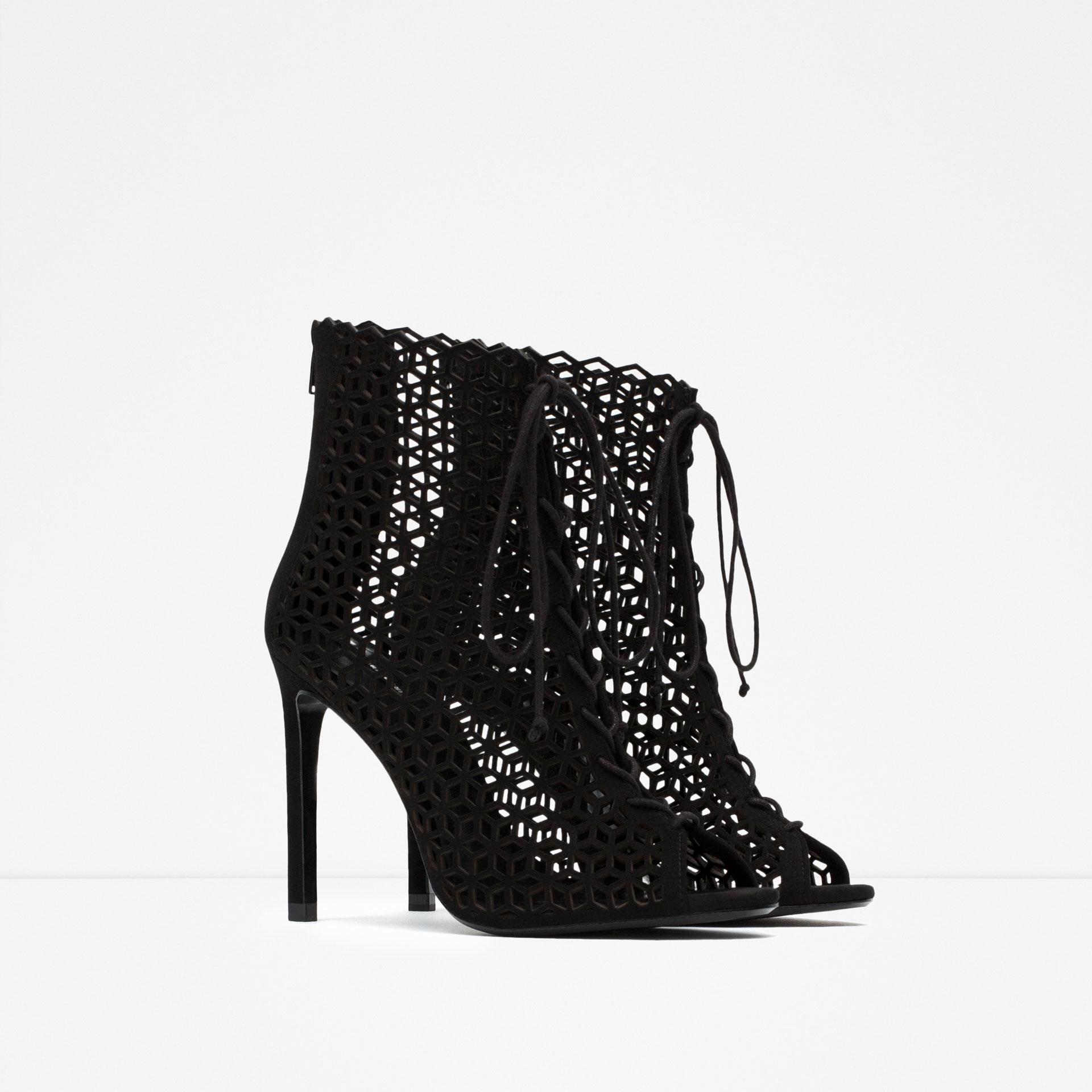 Zara Black Lace Up Heels