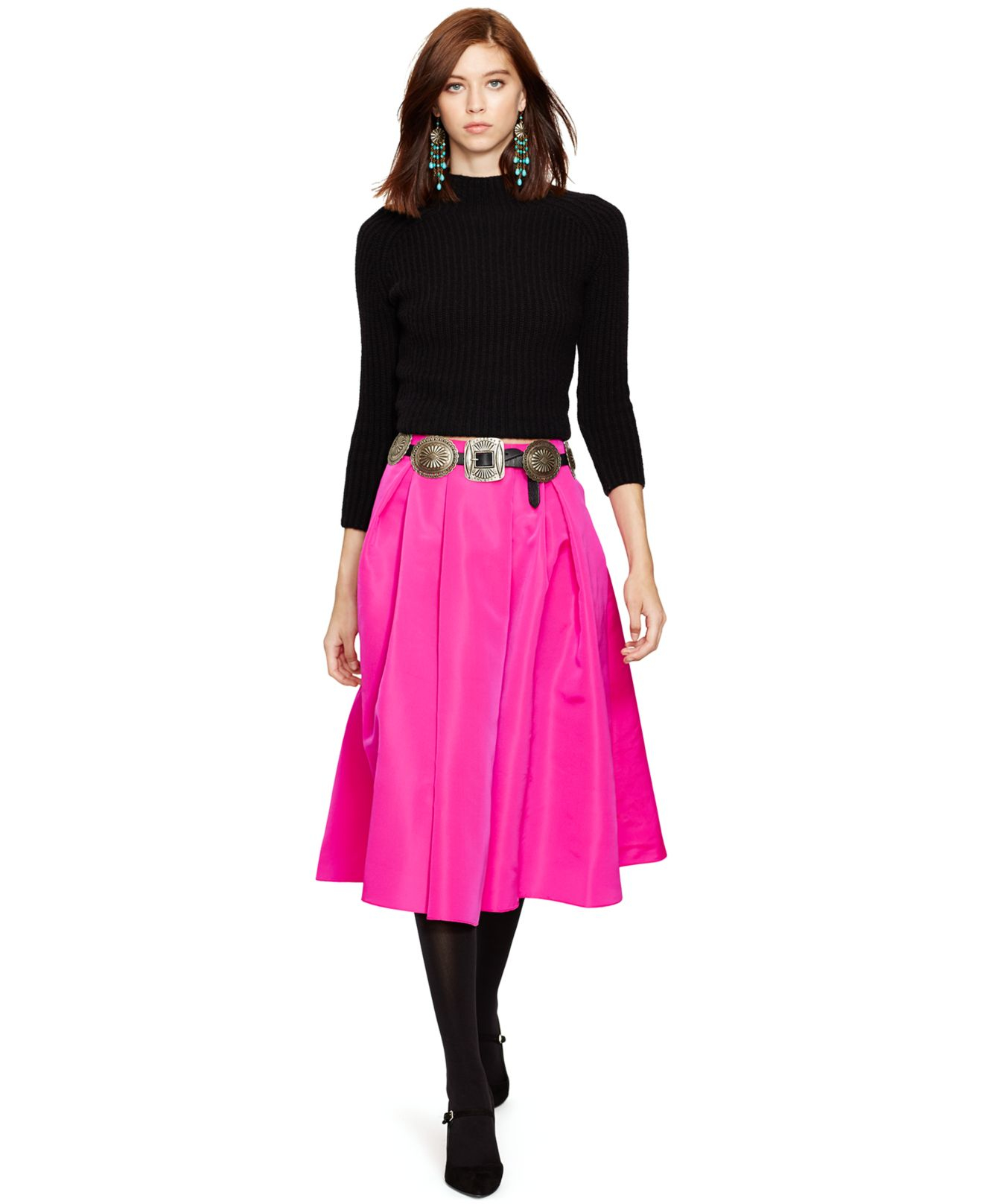 Polo ralph lauren Silk Pleated A-line Skirt in Pink | Lyst
