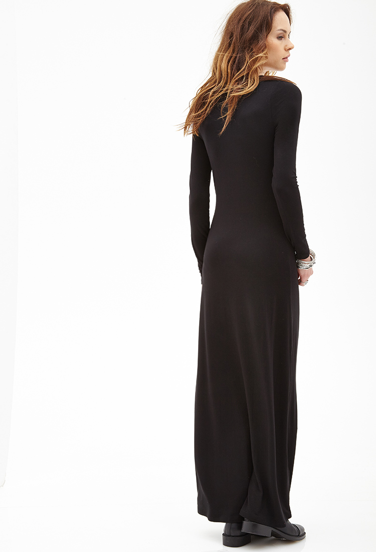 forever 21 longsleeved maxi dress in black lyst