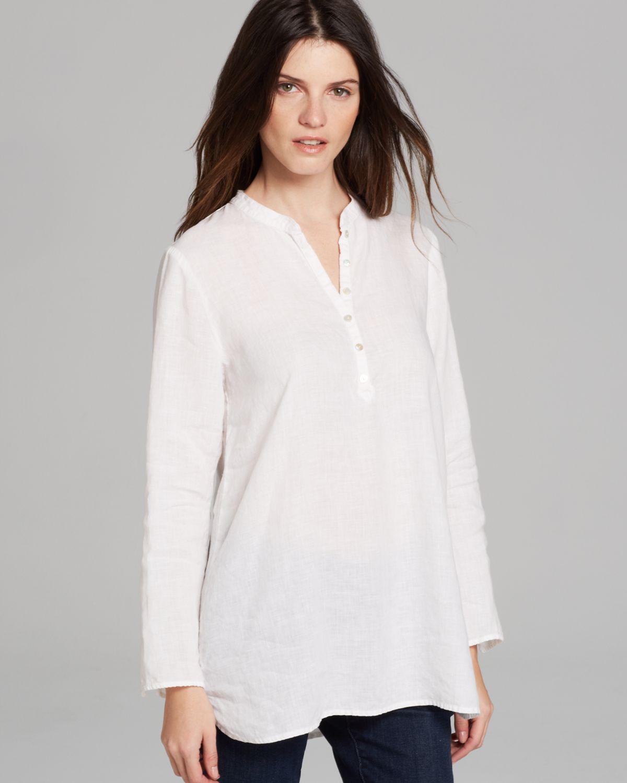 9022df7fe4d Eileen Fisher Mandarin Collar Tunic in White - Lyst