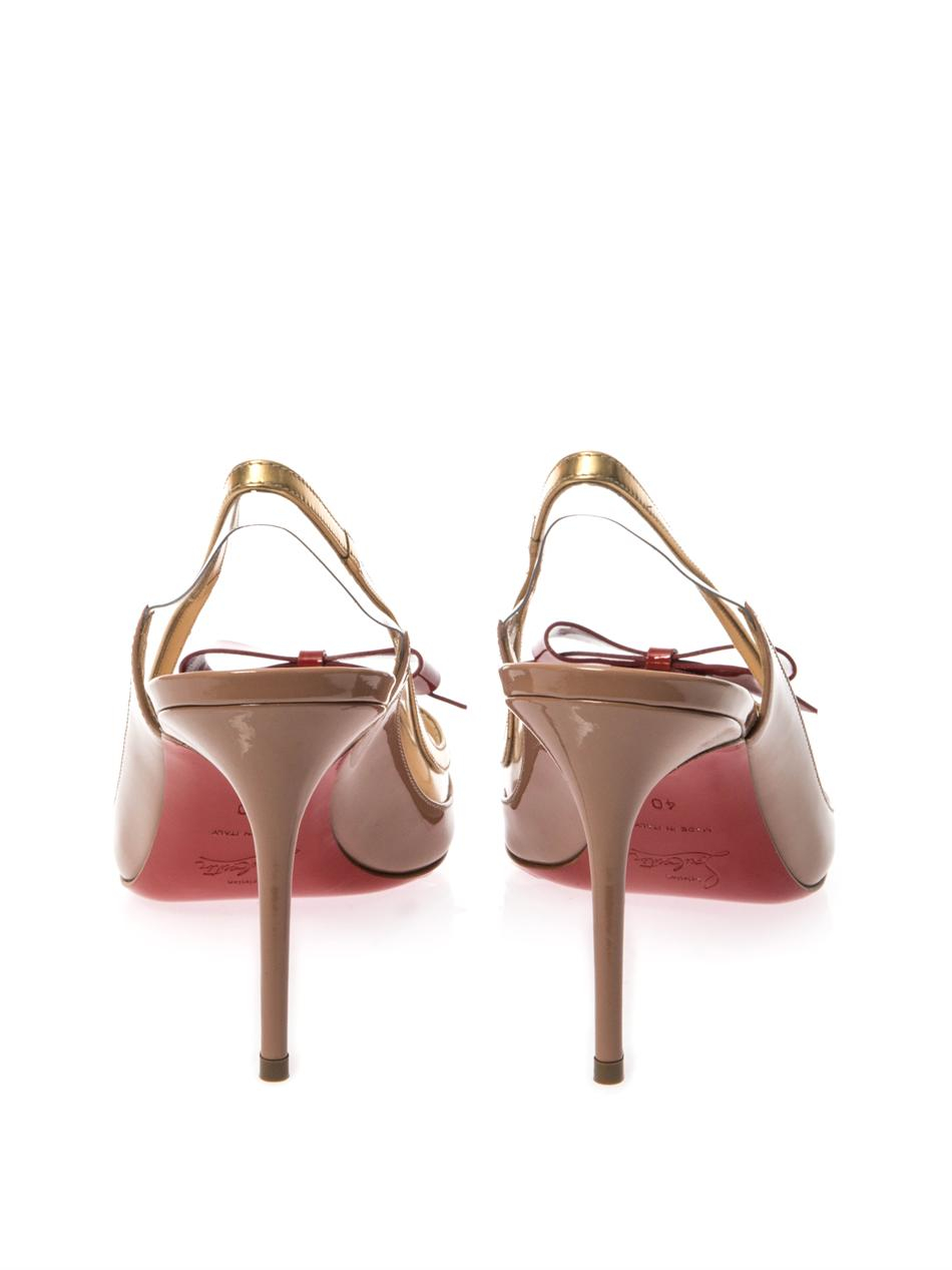 Christian louboutin Suspenodo 85Mm Slingback Pumps in Gold ...