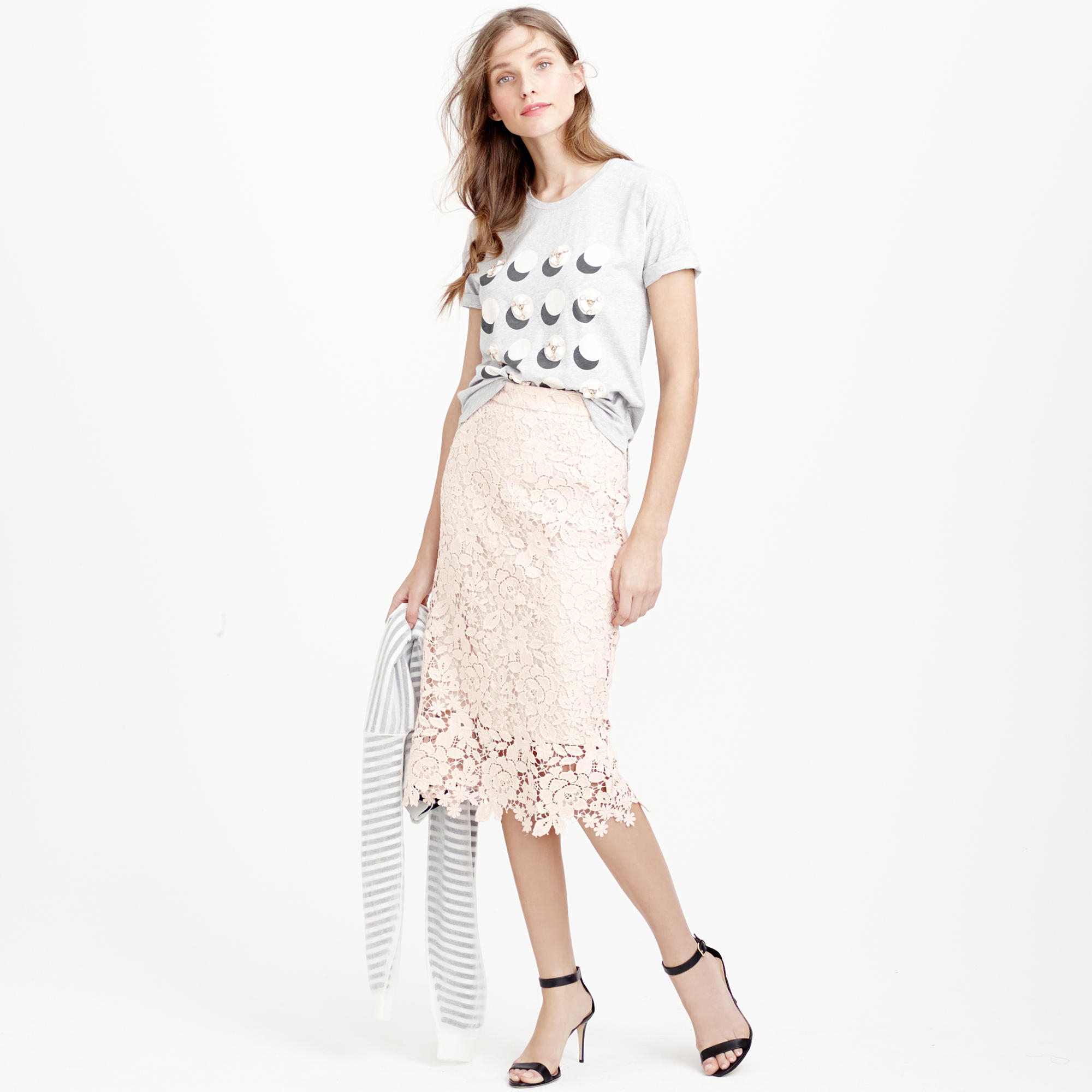 J.crew Collection Lace Pencil Skirt in Pink (sunwashed ...