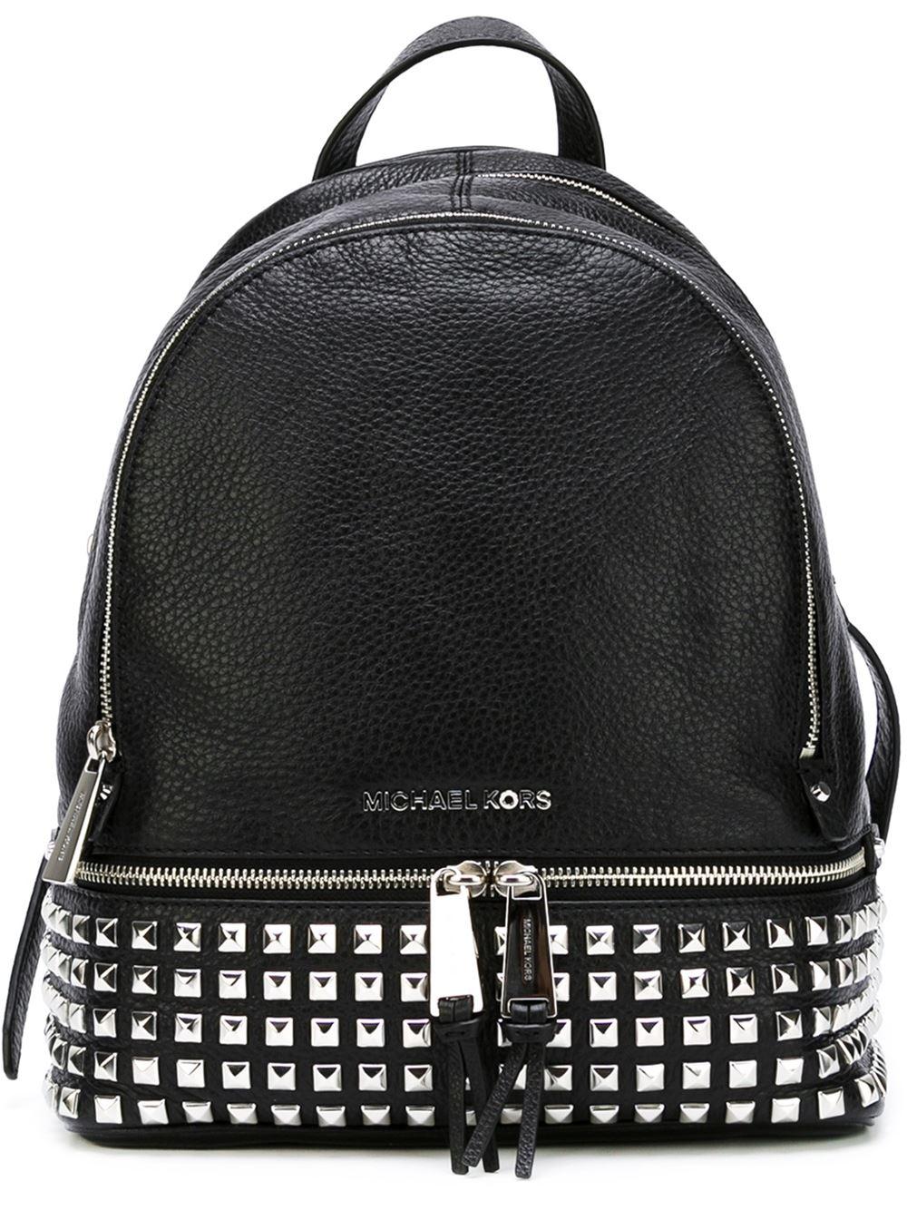 michael michael kors rhea studded backpack in black lyst. Black Bedroom Furniture Sets. Home Design Ideas