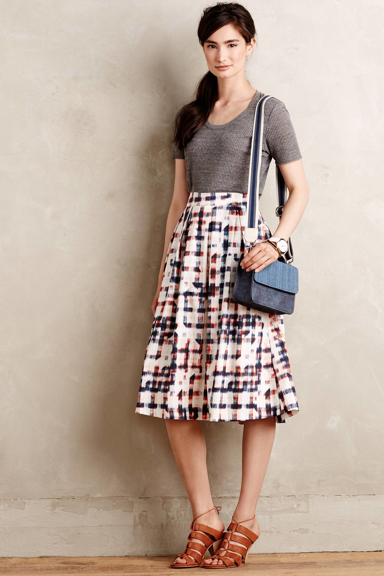 Sam & lavi Sketched Plaid Midi Skirt in Red | Lyst