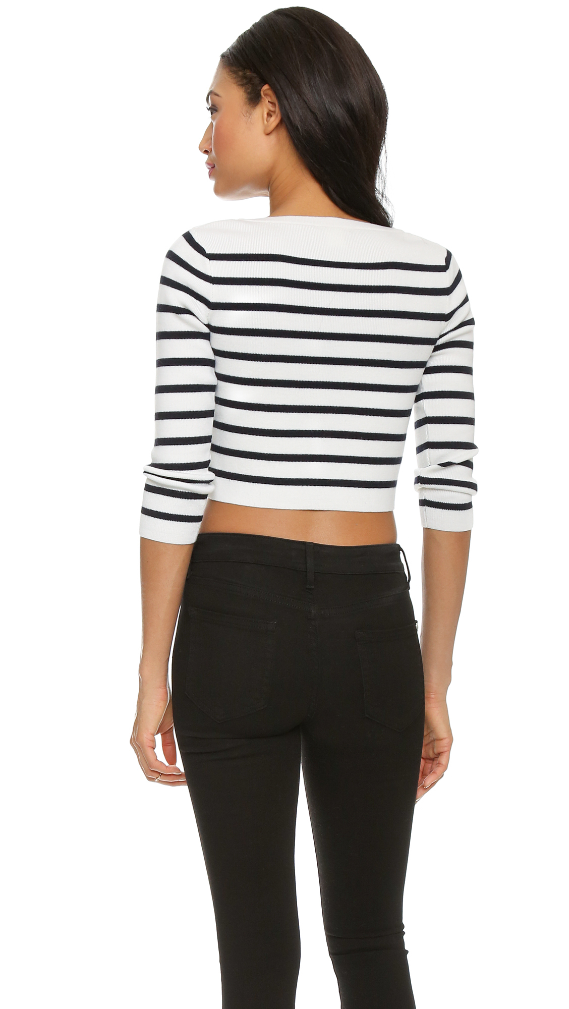 Club monaco Lizeth Cropped Sweater - Navy Stripe in Blue | Lyst