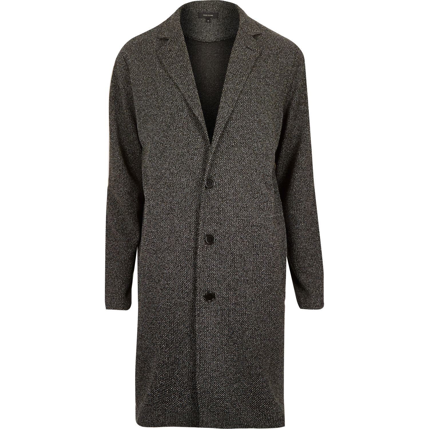 Duster Jacket Knitting Pattern : River island Black Knitted Duster Coat in Gray for Men Lyst