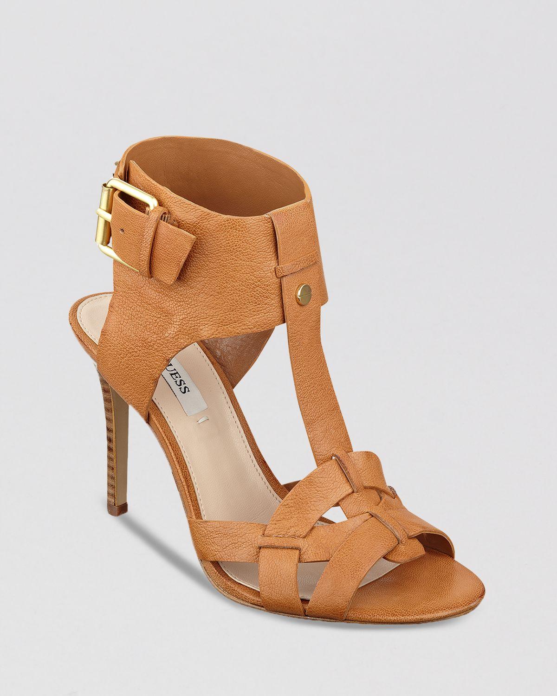 guess open toe sandals hyanne high heel in brown cognac