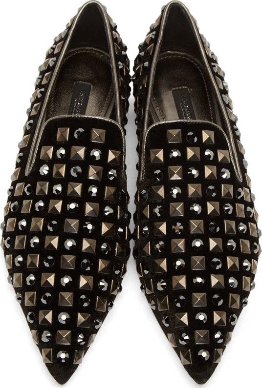710ba2b32a80e Lyst - Dolce   Gabbana Black Velvet Studded Runway Loafers in Black