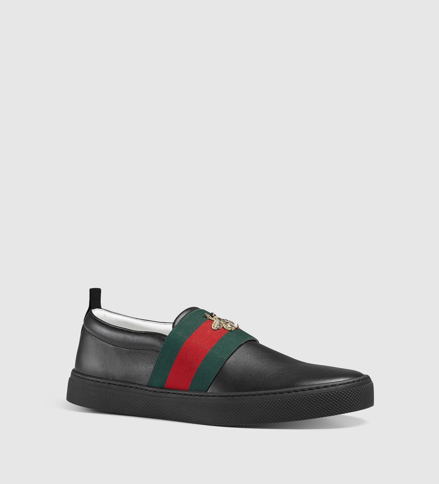 f6c38bccc Gucci Leather Sneaker With Web And Bee in Black for Men - Lyst