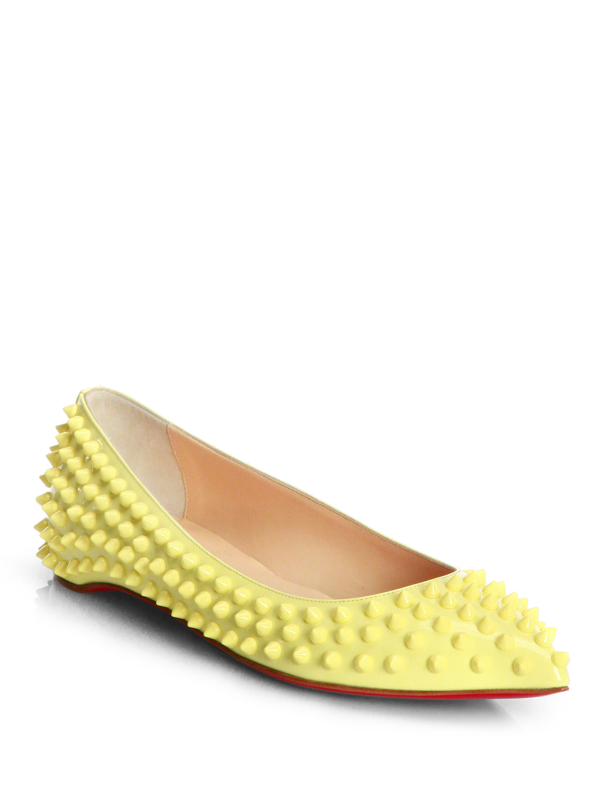 7481cdbe70ed Lyst - Christian Louboutin Pigalle Spiked Patent Leather Flats in Yellow