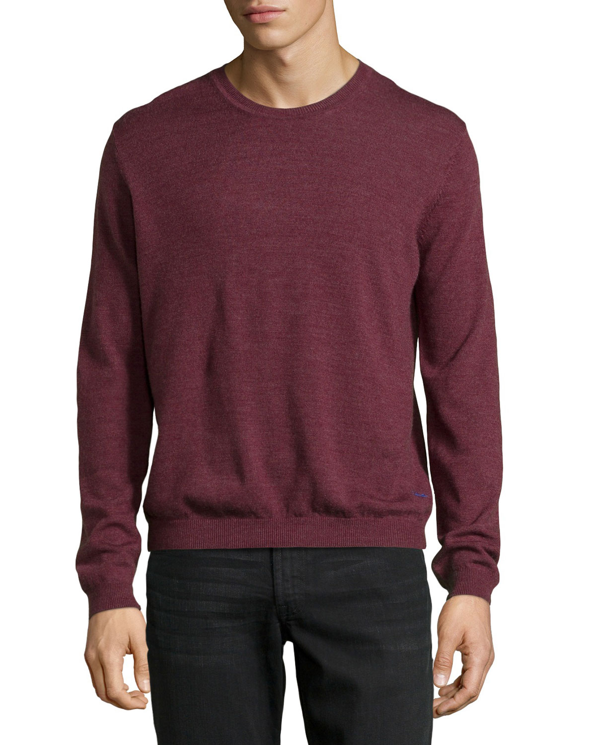 just cavalli long sleeve crewneck wool sweater in red for men lyst. Black Bedroom Furniture Sets. Home Design Ideas