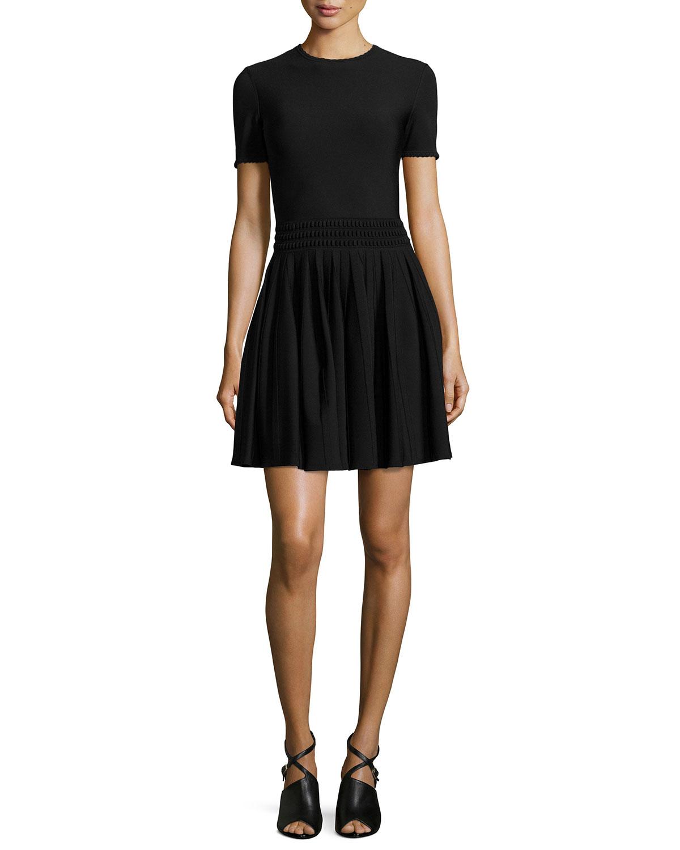 Lyst Alexander Mcqueen Textured Waist Pleated Dress In Black