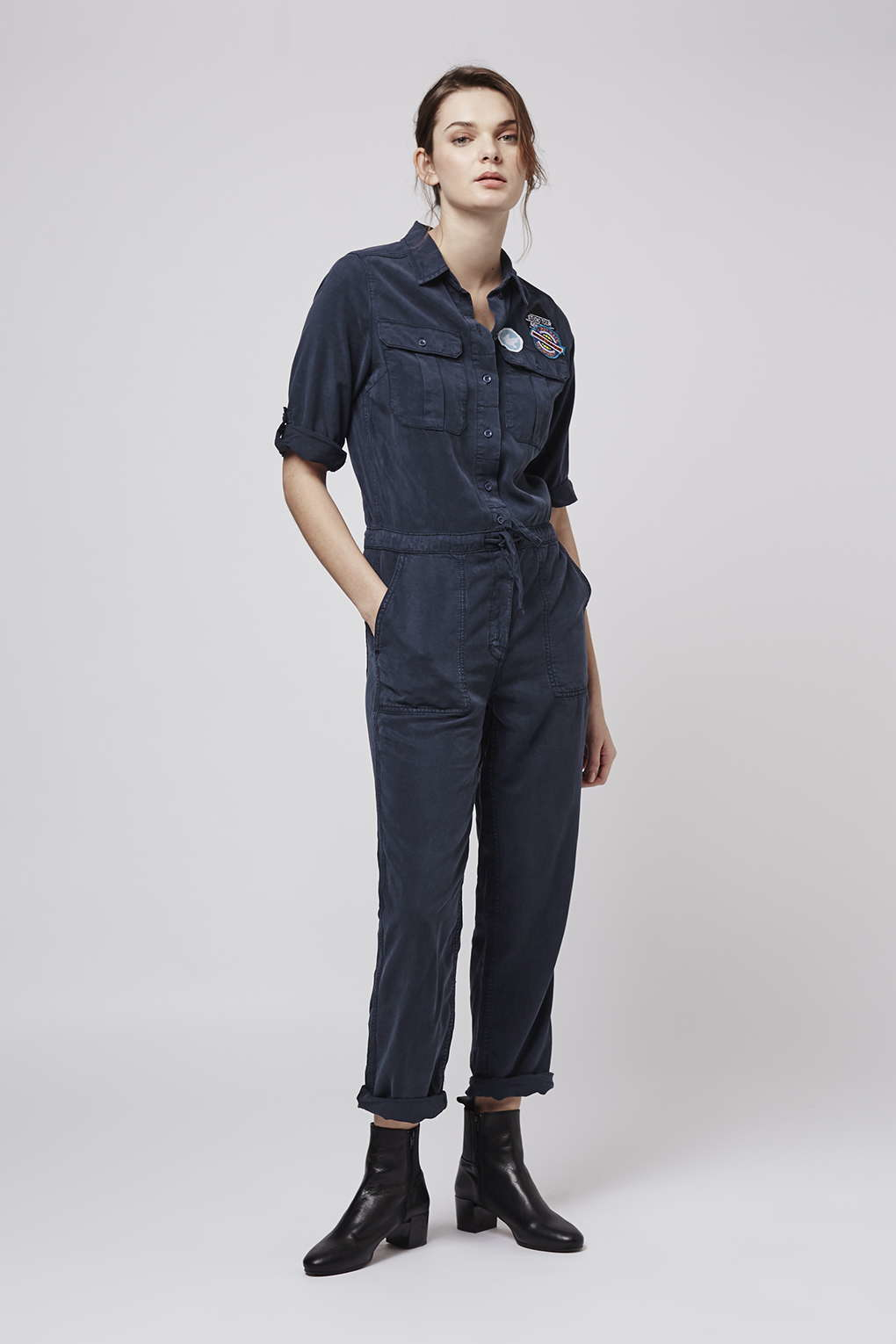 Lyst Topshop Badged Utility Boiler Suit In Blue