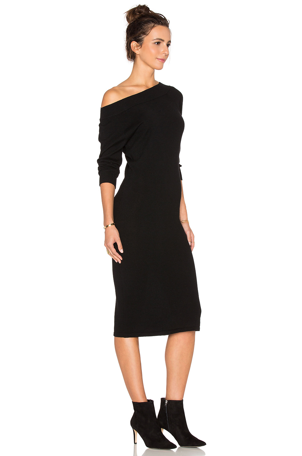Autumn cashmere Off Shoulder Sweater Dress in Black | Lyst