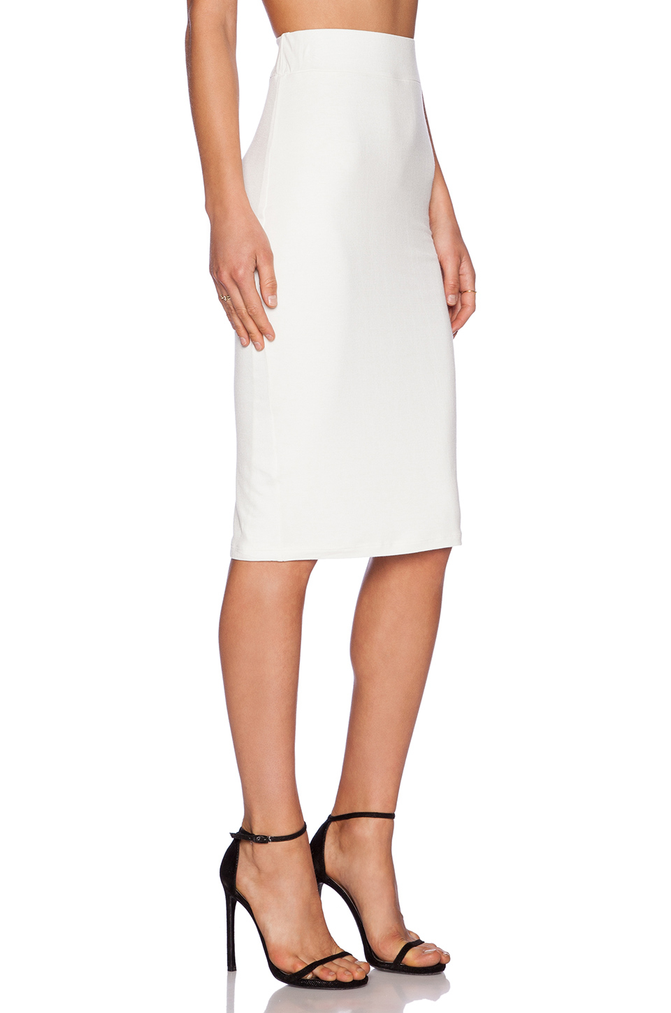 blq basiq high waisted skirt in white lyst