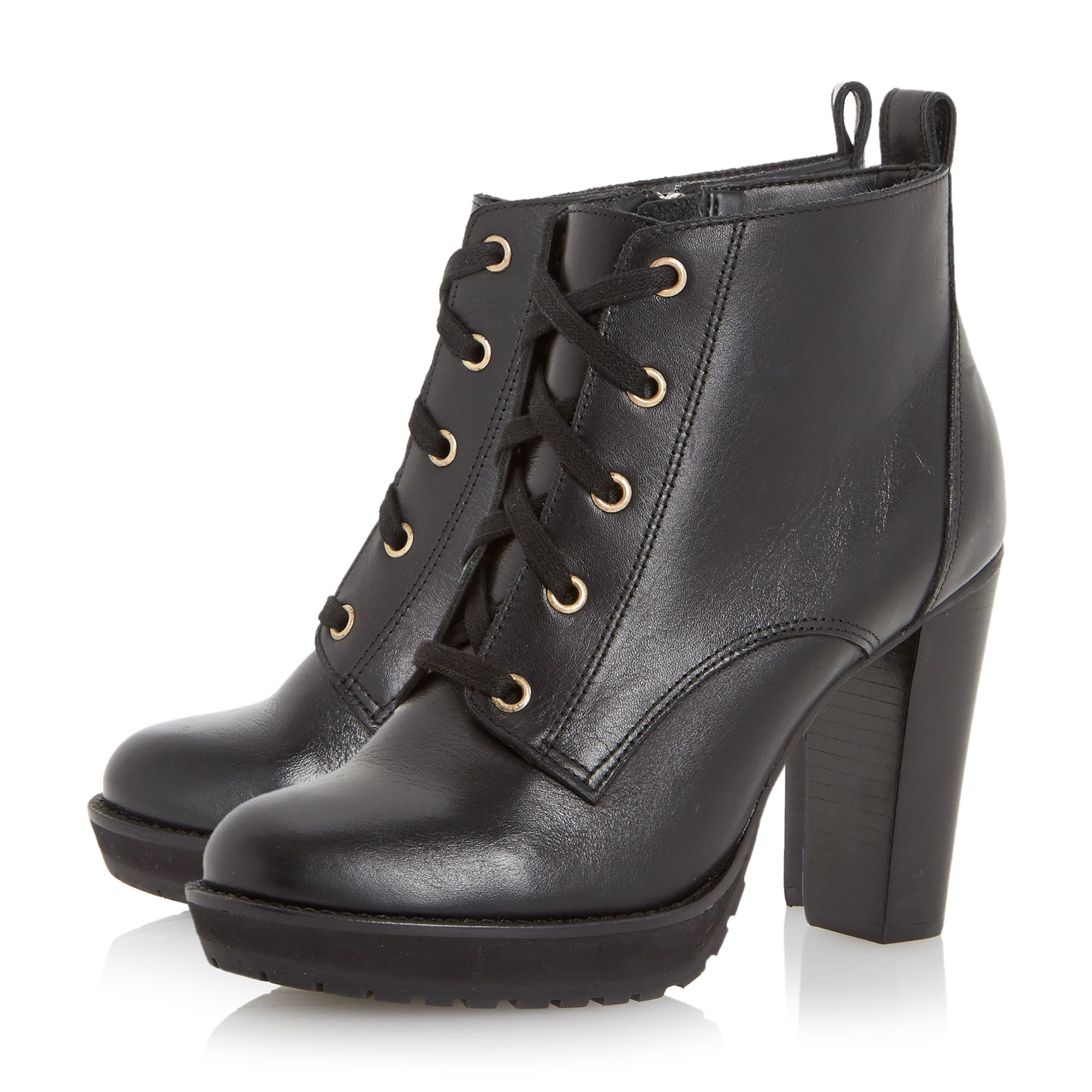 Dune Onslow Stacked High Heel Lace Up Ankle Boot in Black | Lyst