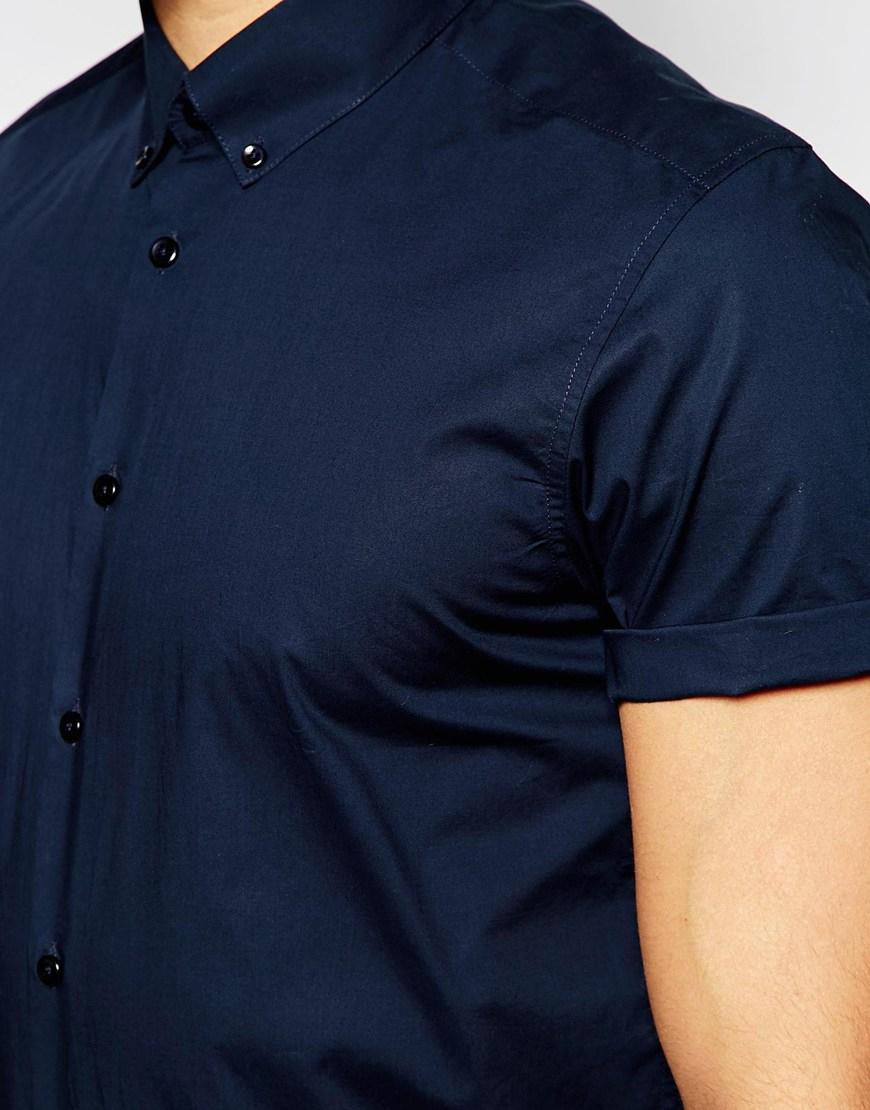 cc6ea07c31b Navy Blue Short Sleeve Button Down Shirt